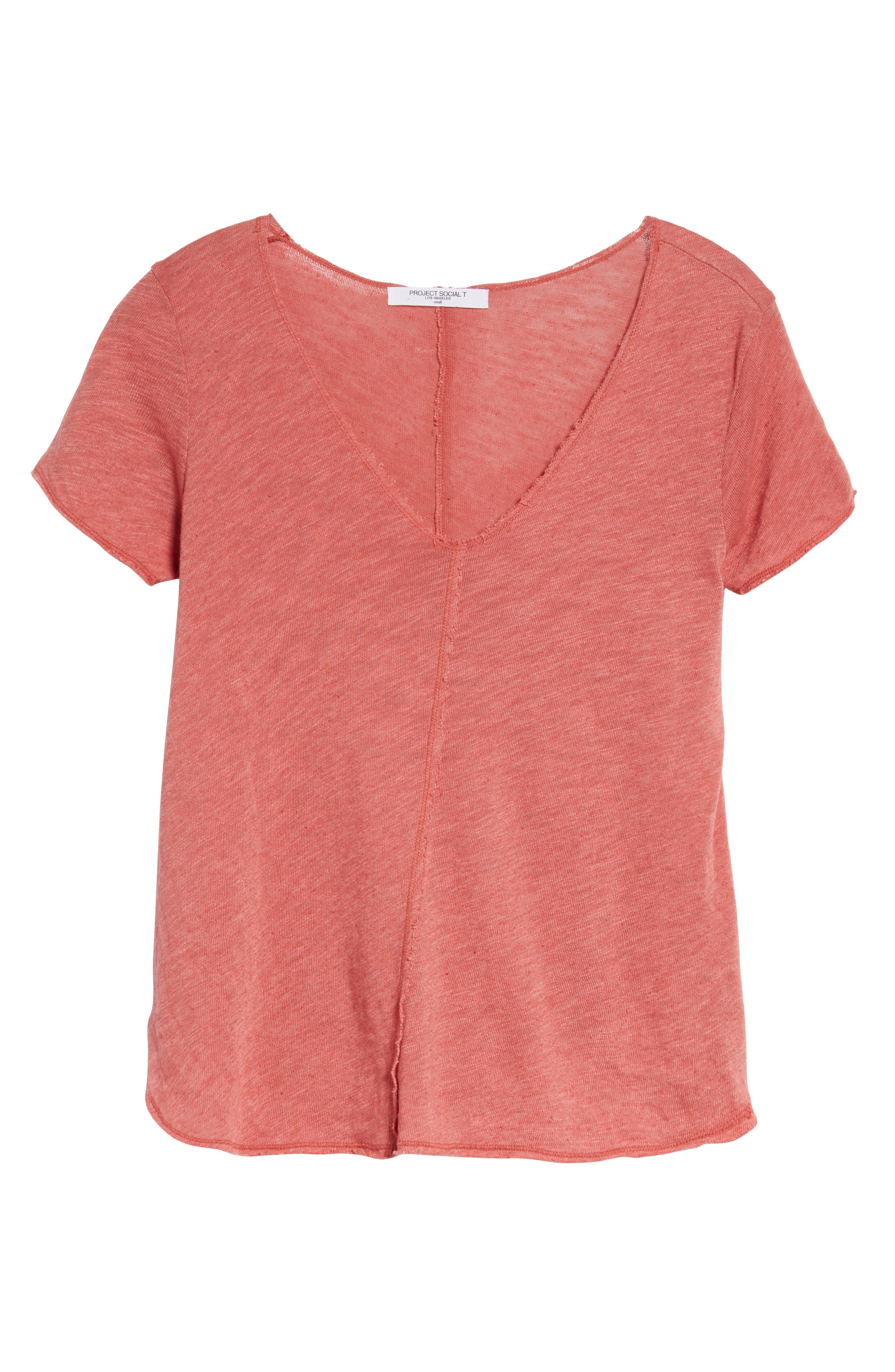 V-Neck Tee,                             Alternate thumbnail 7, color,                             Strawberry Rouge