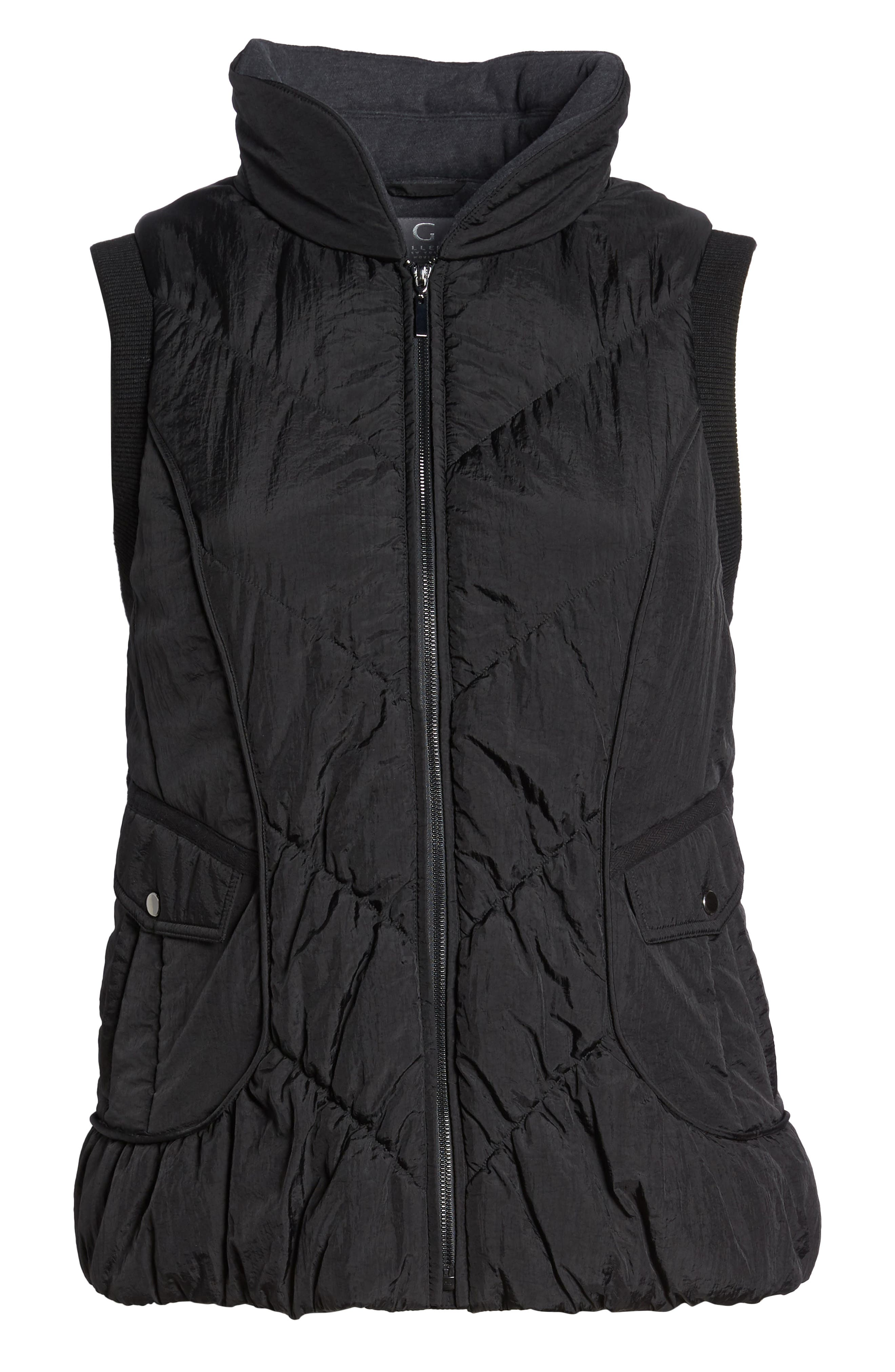 Packable Pillow Collar Vest,                             Alternate thumbnail 7, color,                             Black