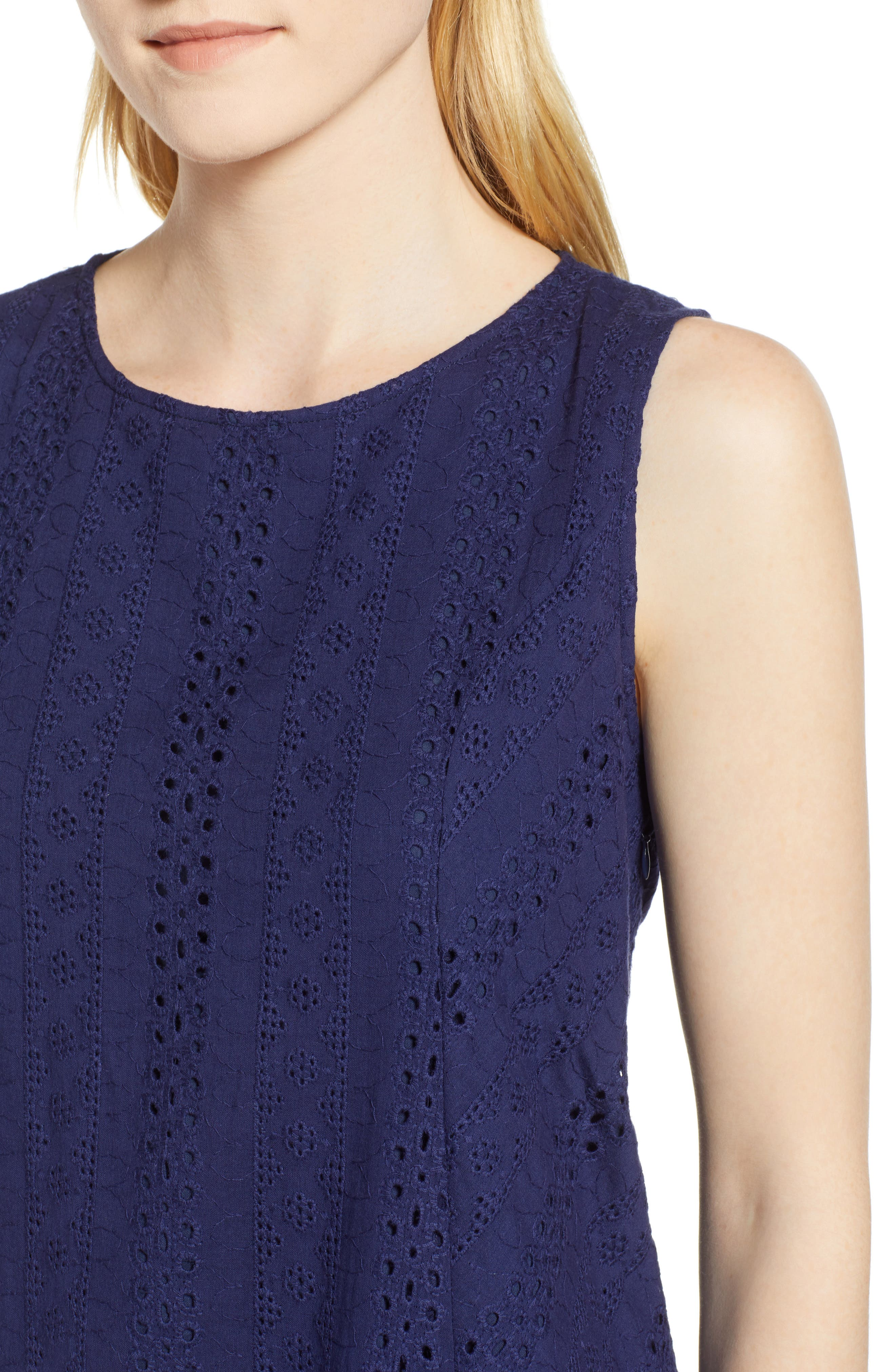 Eyelet Shift Dress,                             Alternate thumbnail 4, color,                             Navy