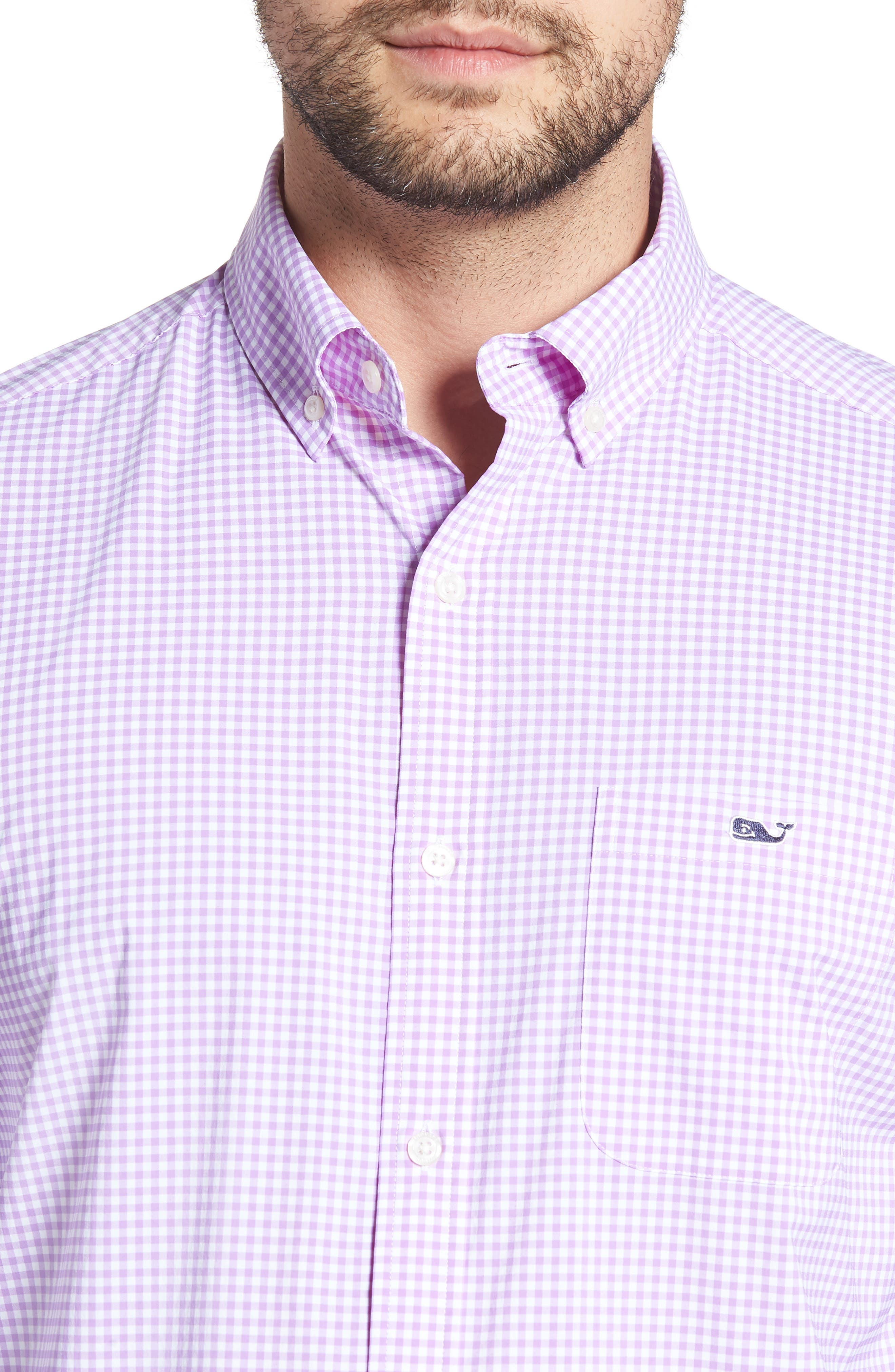 Grand Cay Tucker Regular Fit Gingham Performance Sport Shirt,                             Alternate thumbnail 2, color,                             Sea Urchin