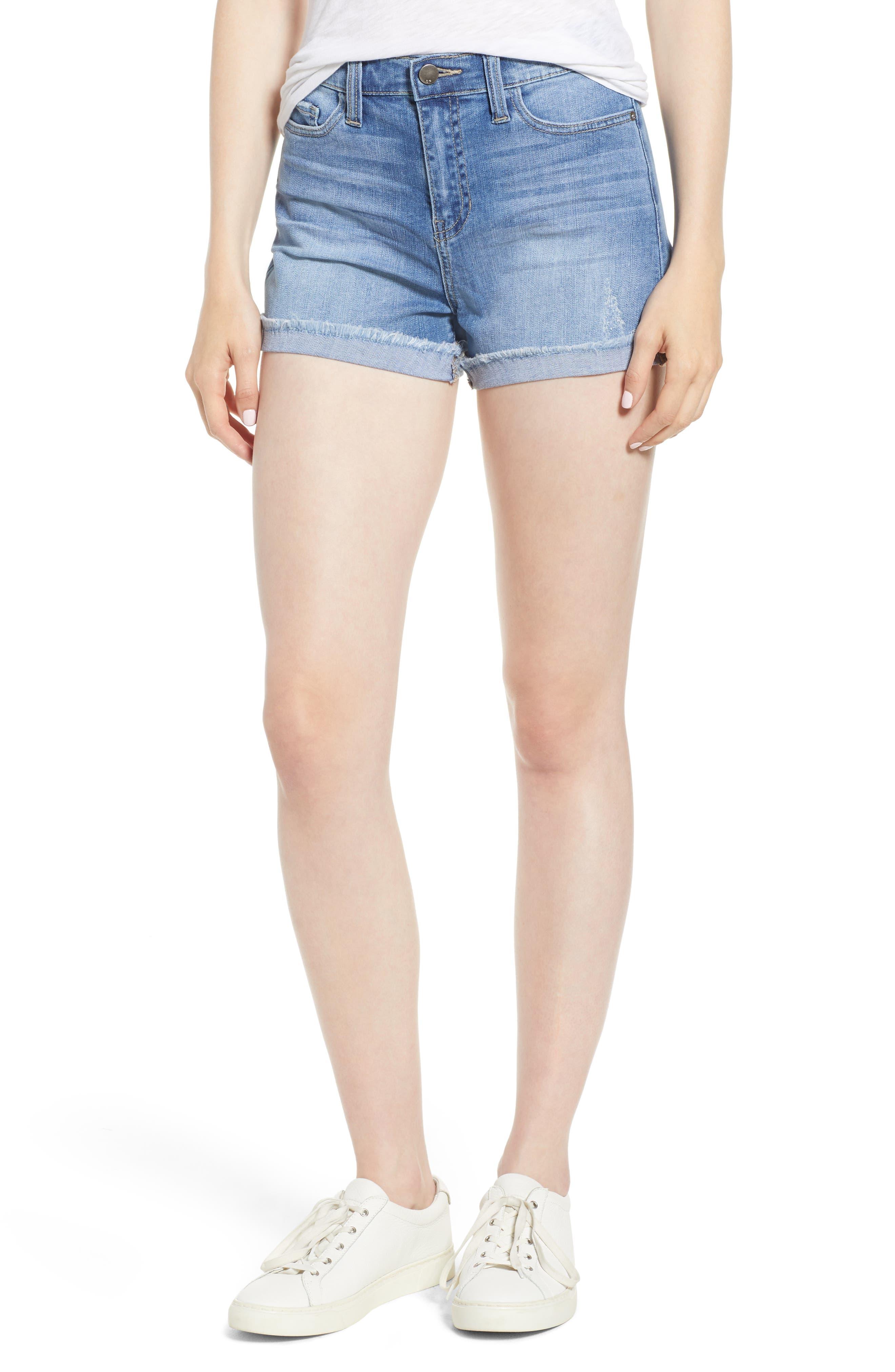 Cuffed Boyfriend Denim Shorts,                         Main,                         color, Med Wash
