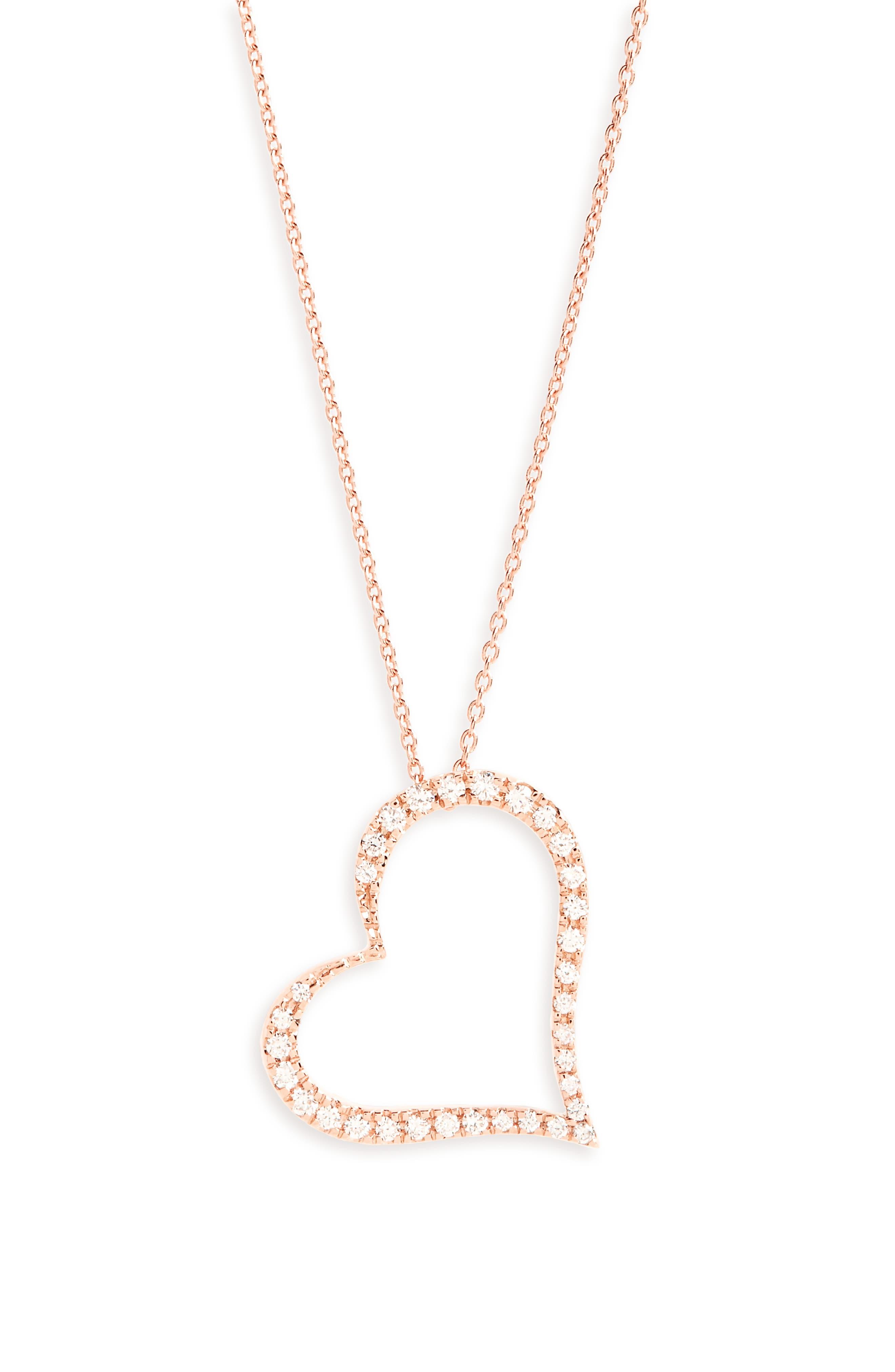 Diamond Slant Heart Pendant Necklace,                             Main thumbnail 1, color,                             Rose Gold