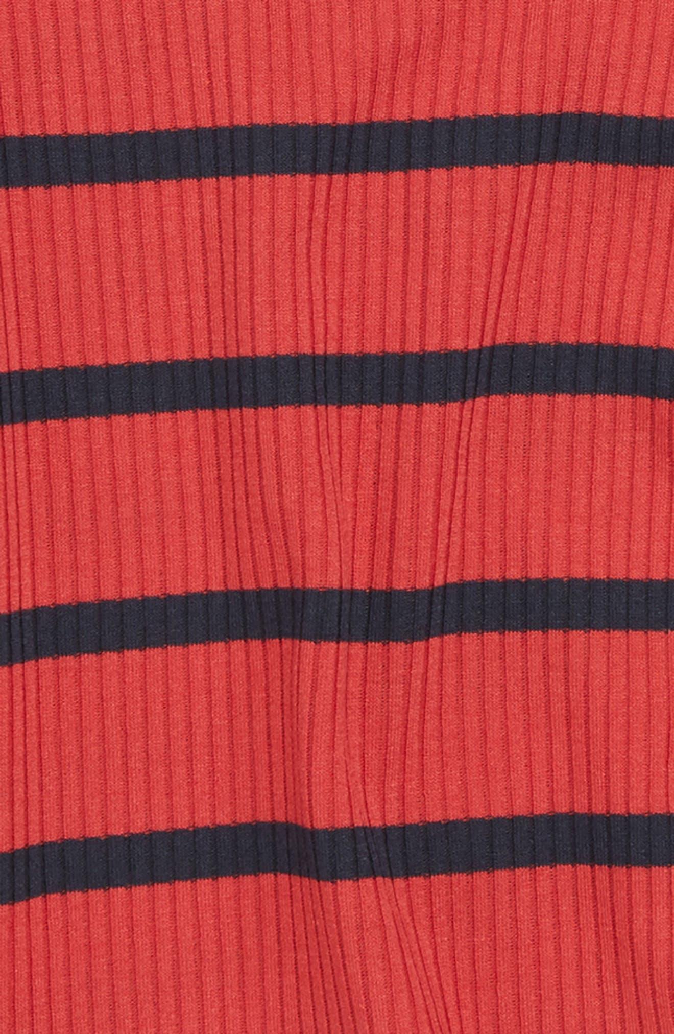 Stripe Cold Shoulder Top,                             Alternate thumbnail 2, color,                             Red/ Navy