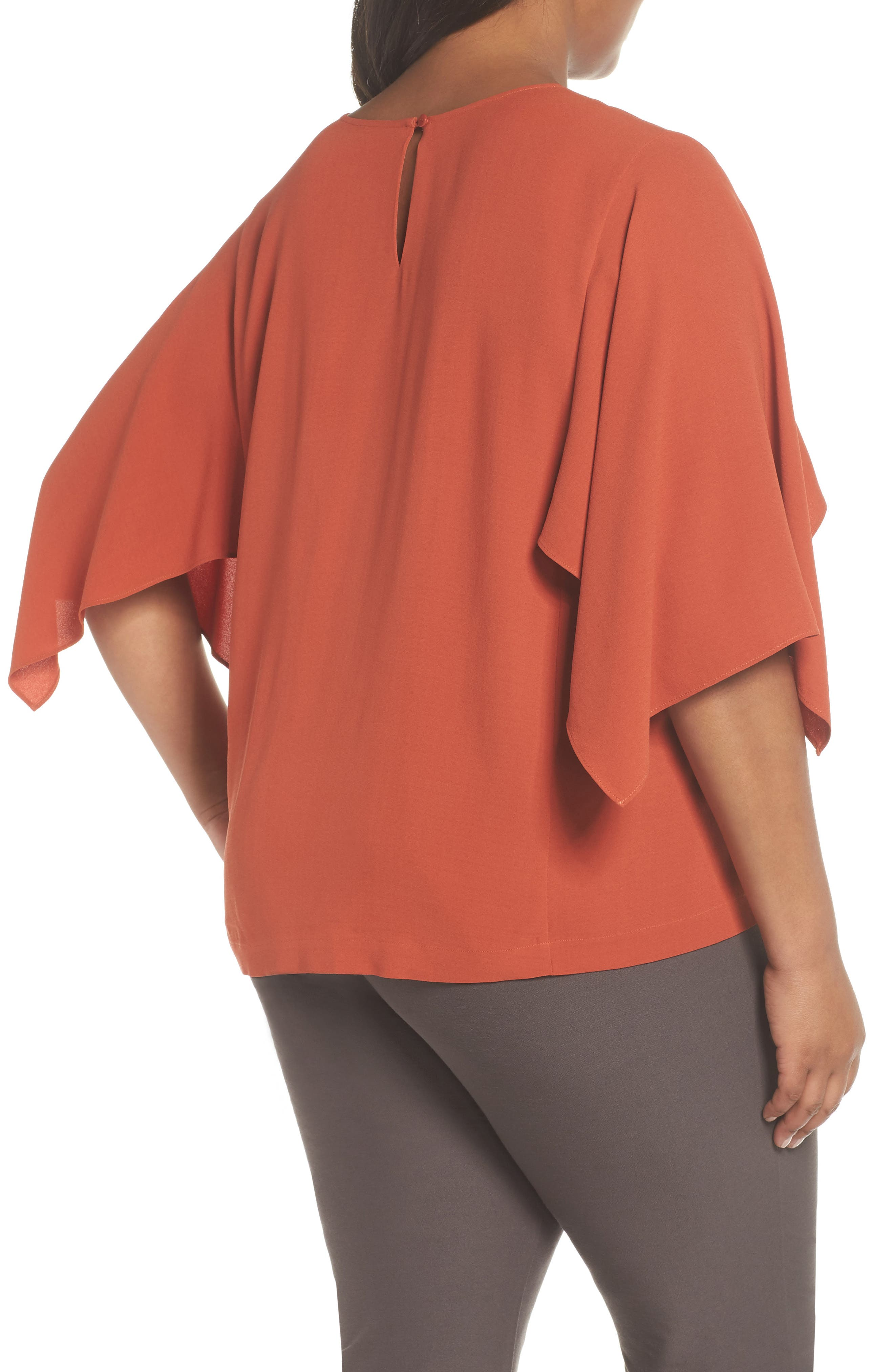 Slit Sleeve Silk Top,                             Alternate thumbnail 2, color,                             Orange Pekoe