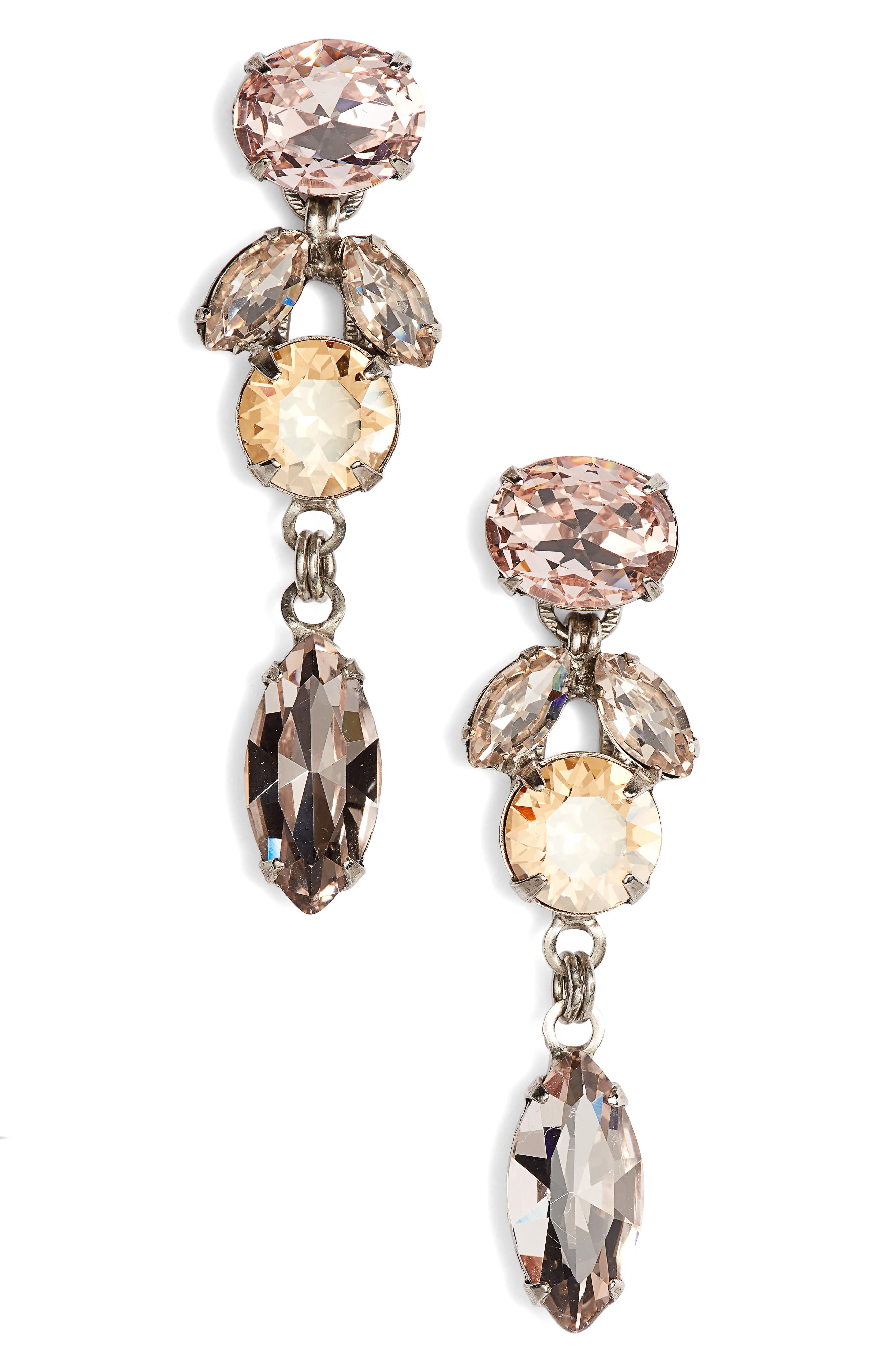 Sparkling Siren Crystal Earrings,                         Main,                         color, Pink