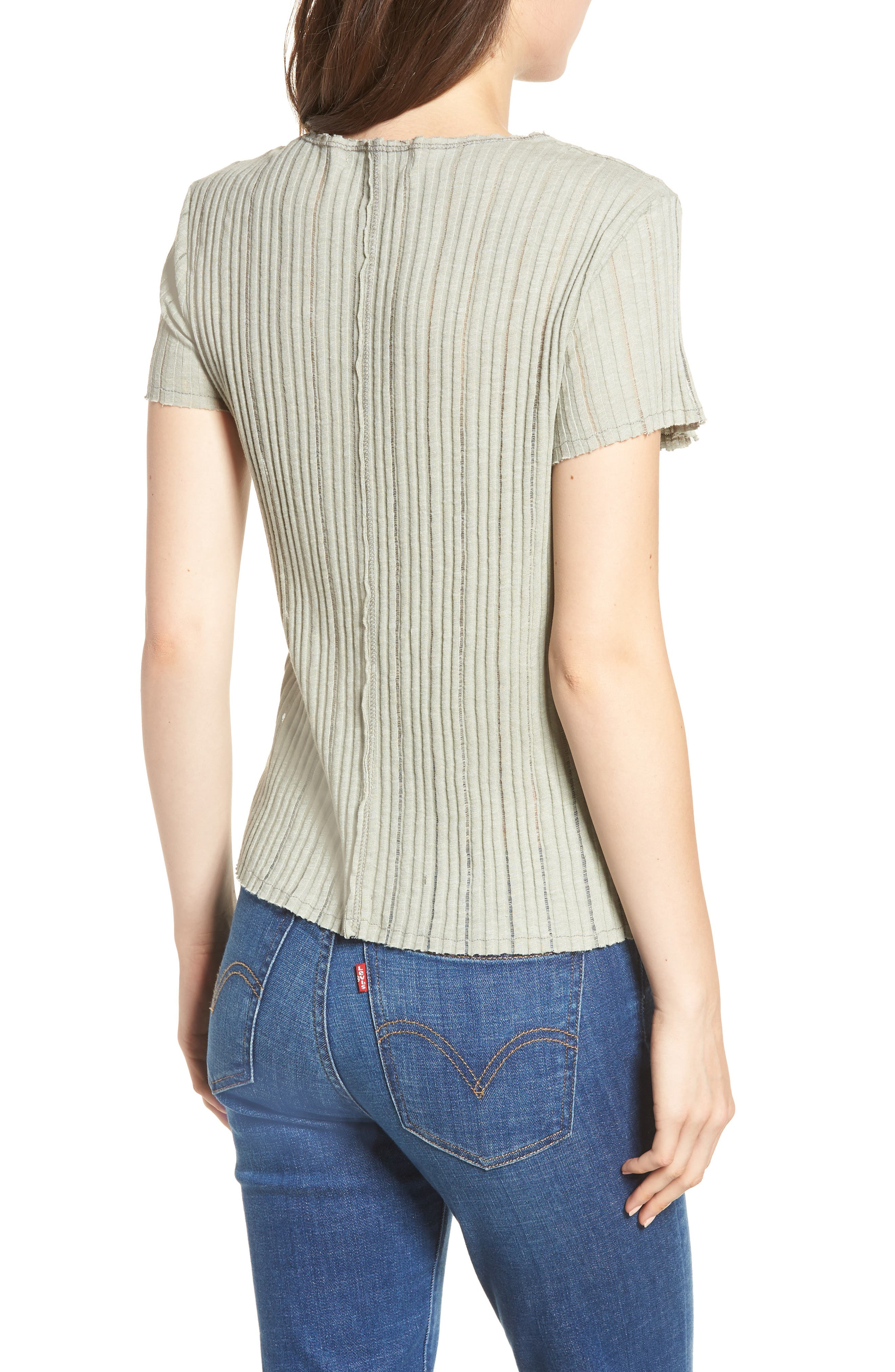 Ribbed Tee,                             Alternate thumbnail 2, color,                             Moss
