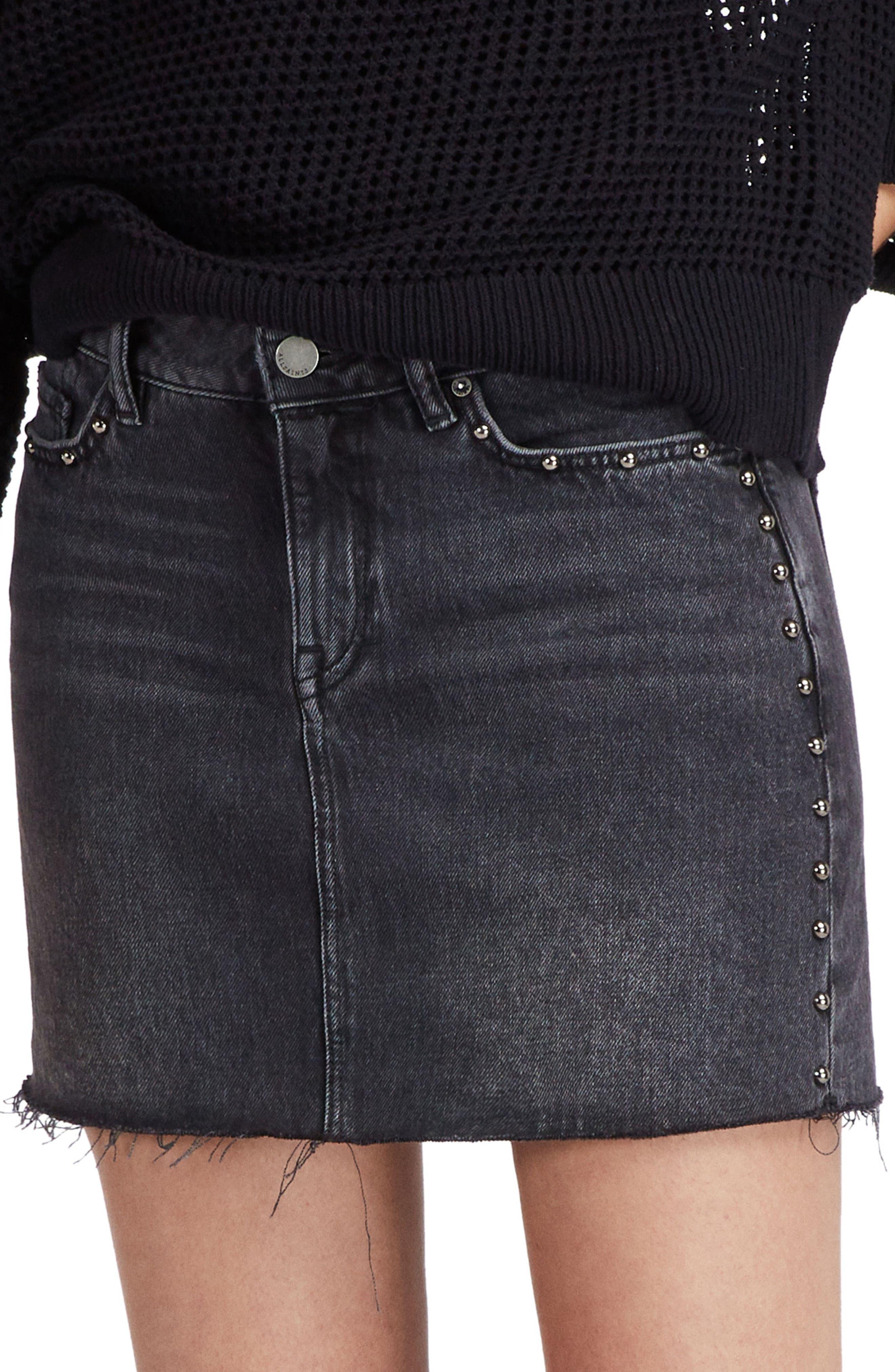 Studded Denim Skirt,                             Alternate thumbnail 3, color,                             Washed Black