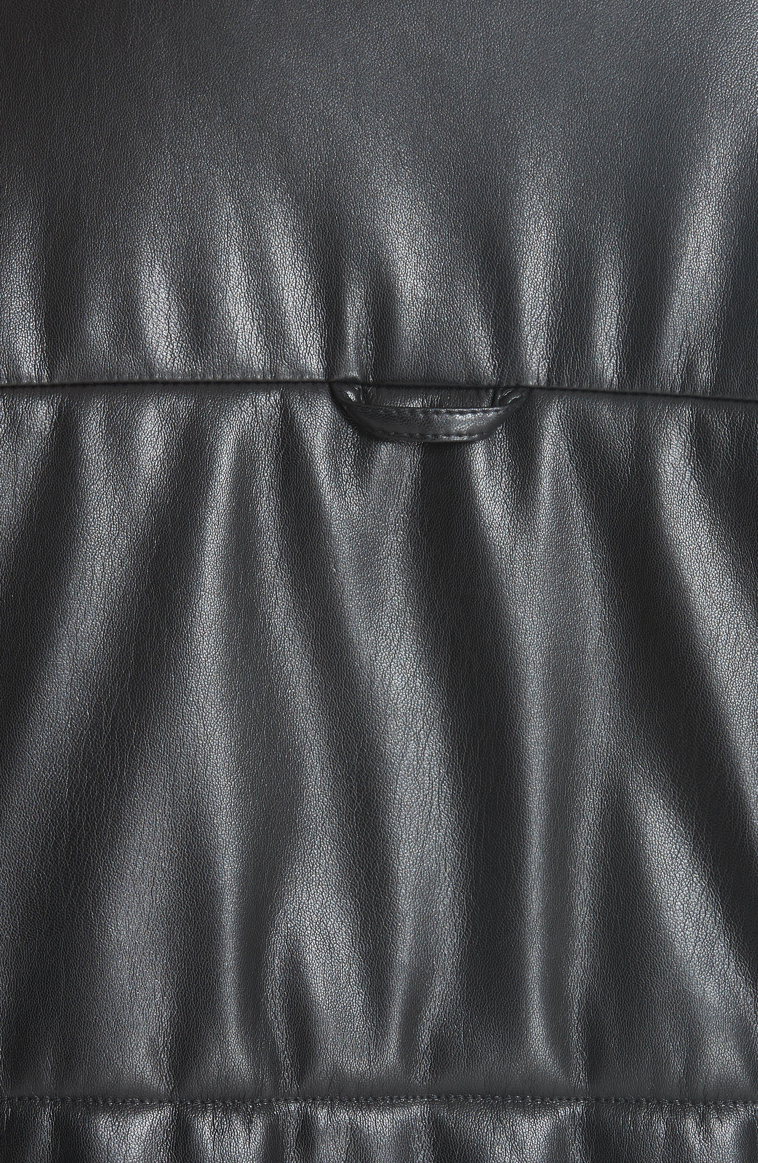 Hide Faux Leather Puffer Jacket,                             Alternate thumbnail 5, color,                             Black