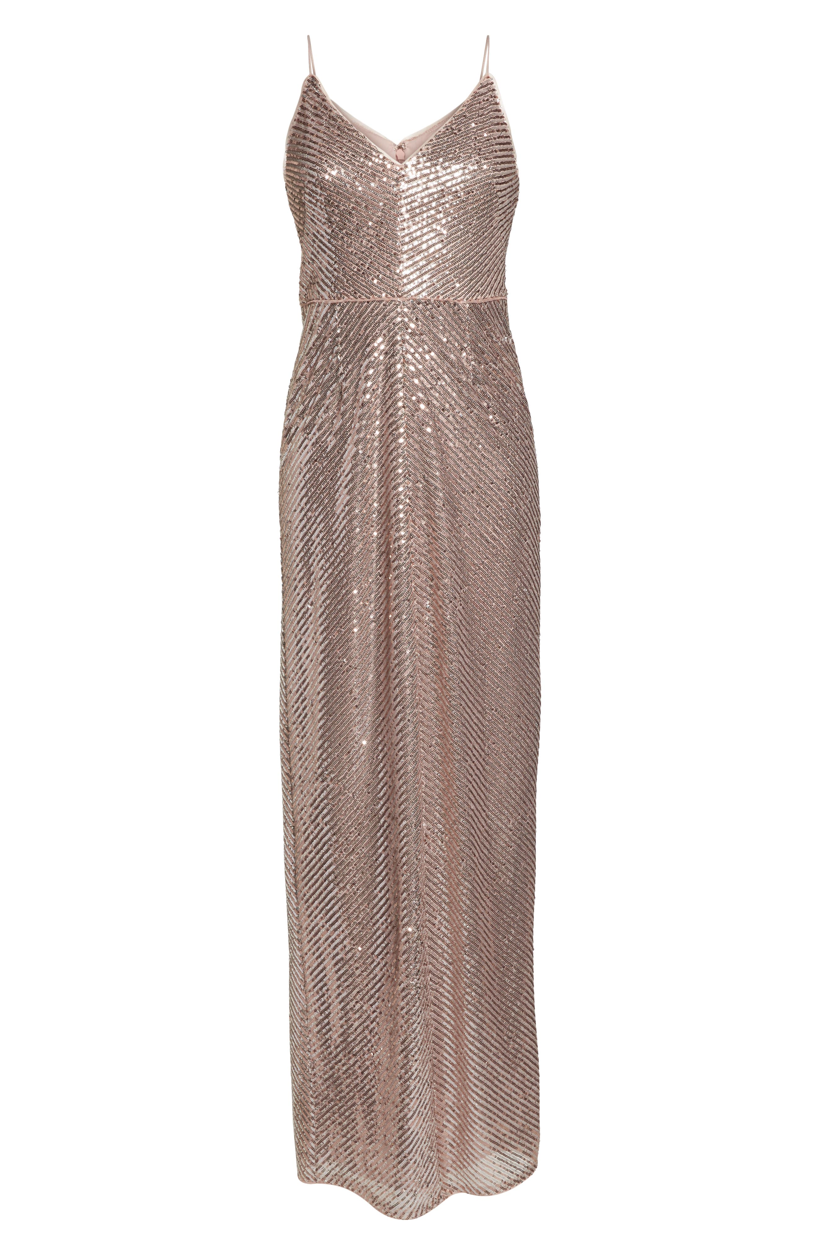 Stripe Sequin Gown,                             Alternate thumbnail 6, color,                             Rose Gold