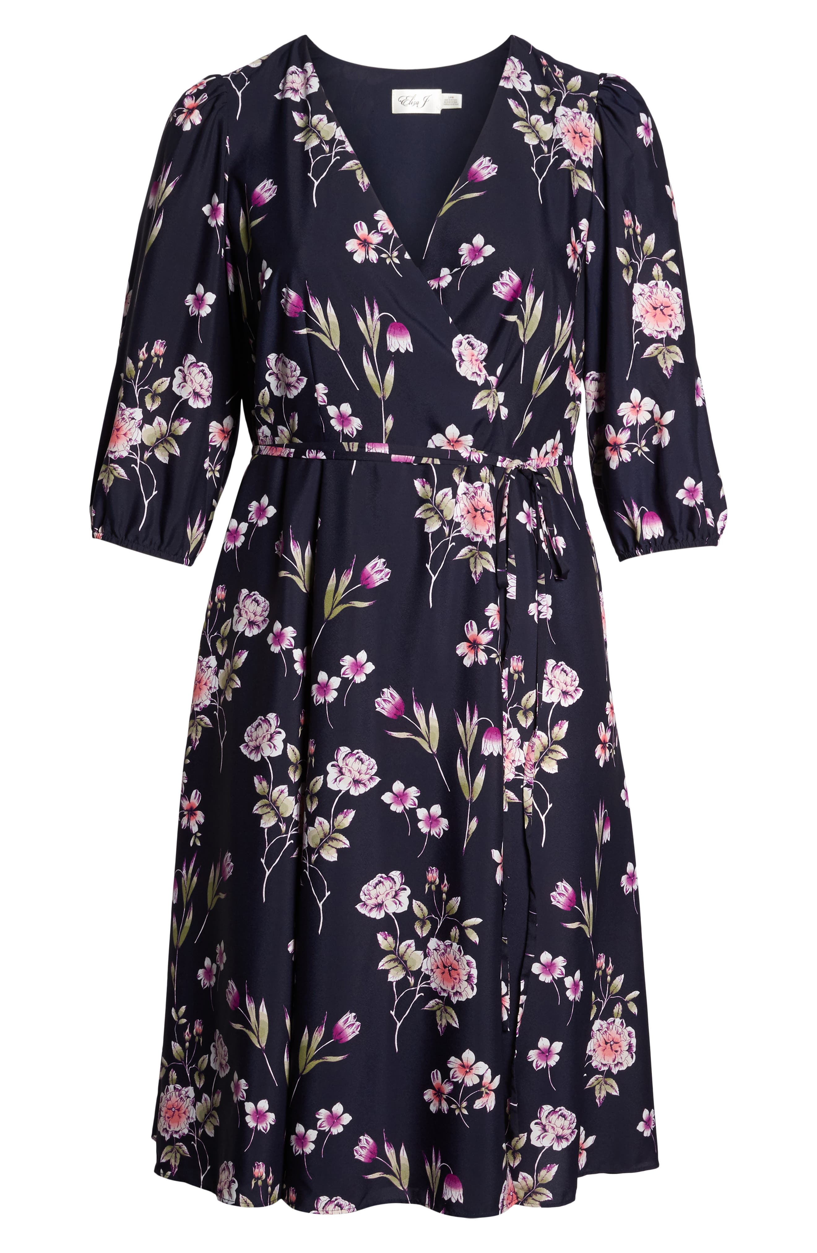 Puff Sleeve Floral Wrap Midi Dress,                             Alternate thumbnail 7, color,                             Navy