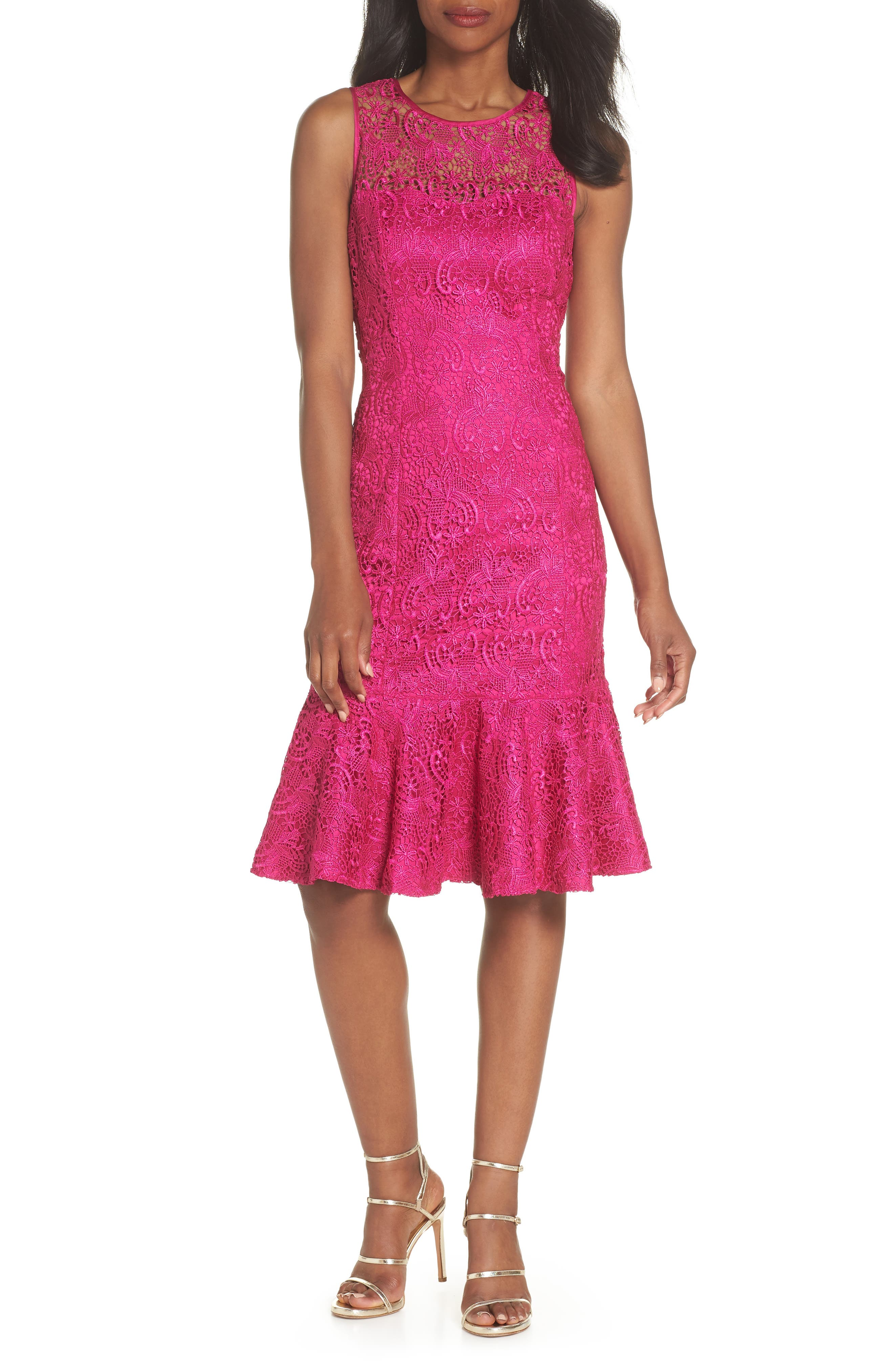 Sleeveless Lace Sheath Dress,                         Main,                         color, Pink