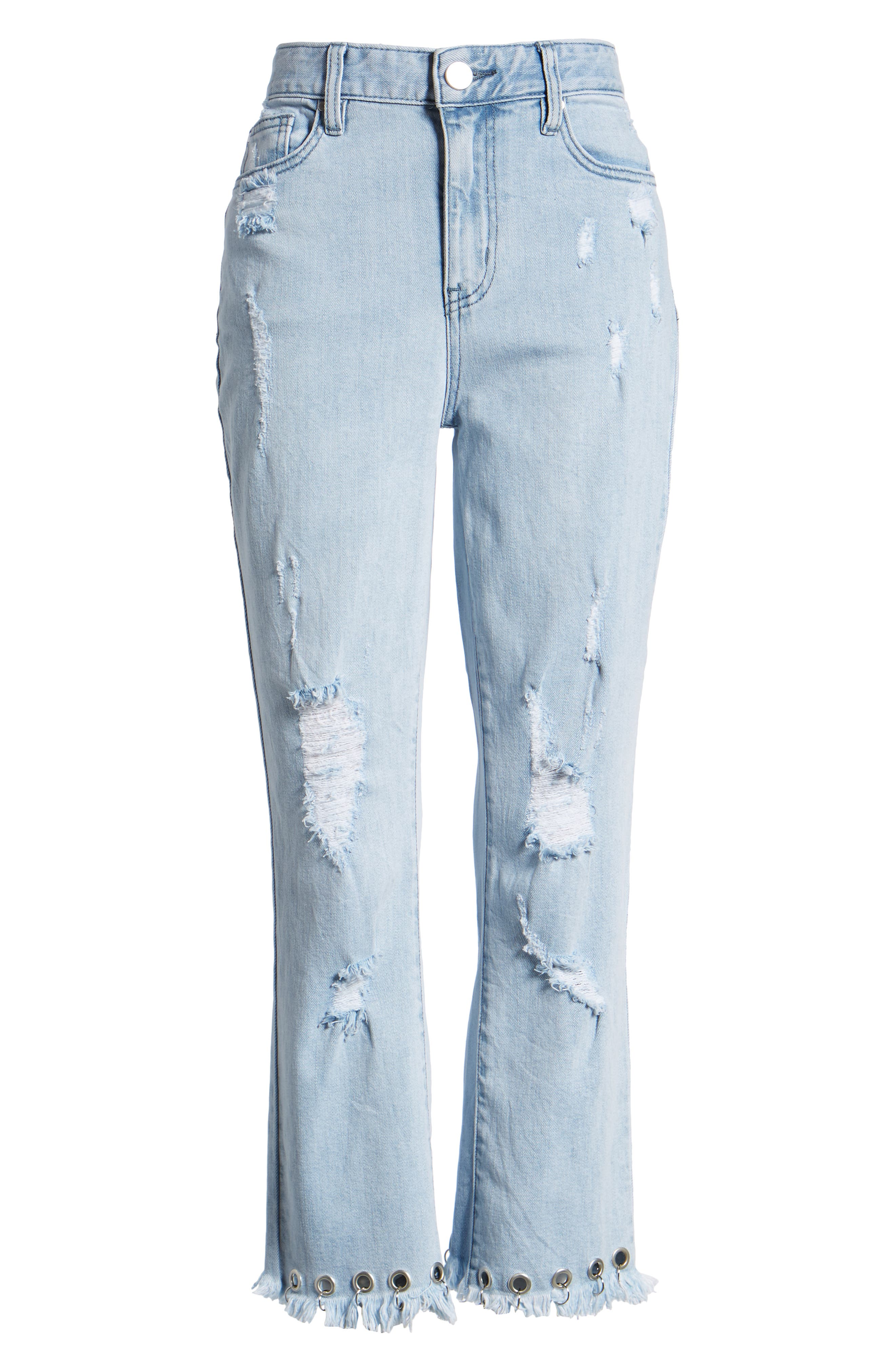 Grommet Hem Distressed Crop Jeans,                             Alternate thumbnail 7, color,                             Light Wash