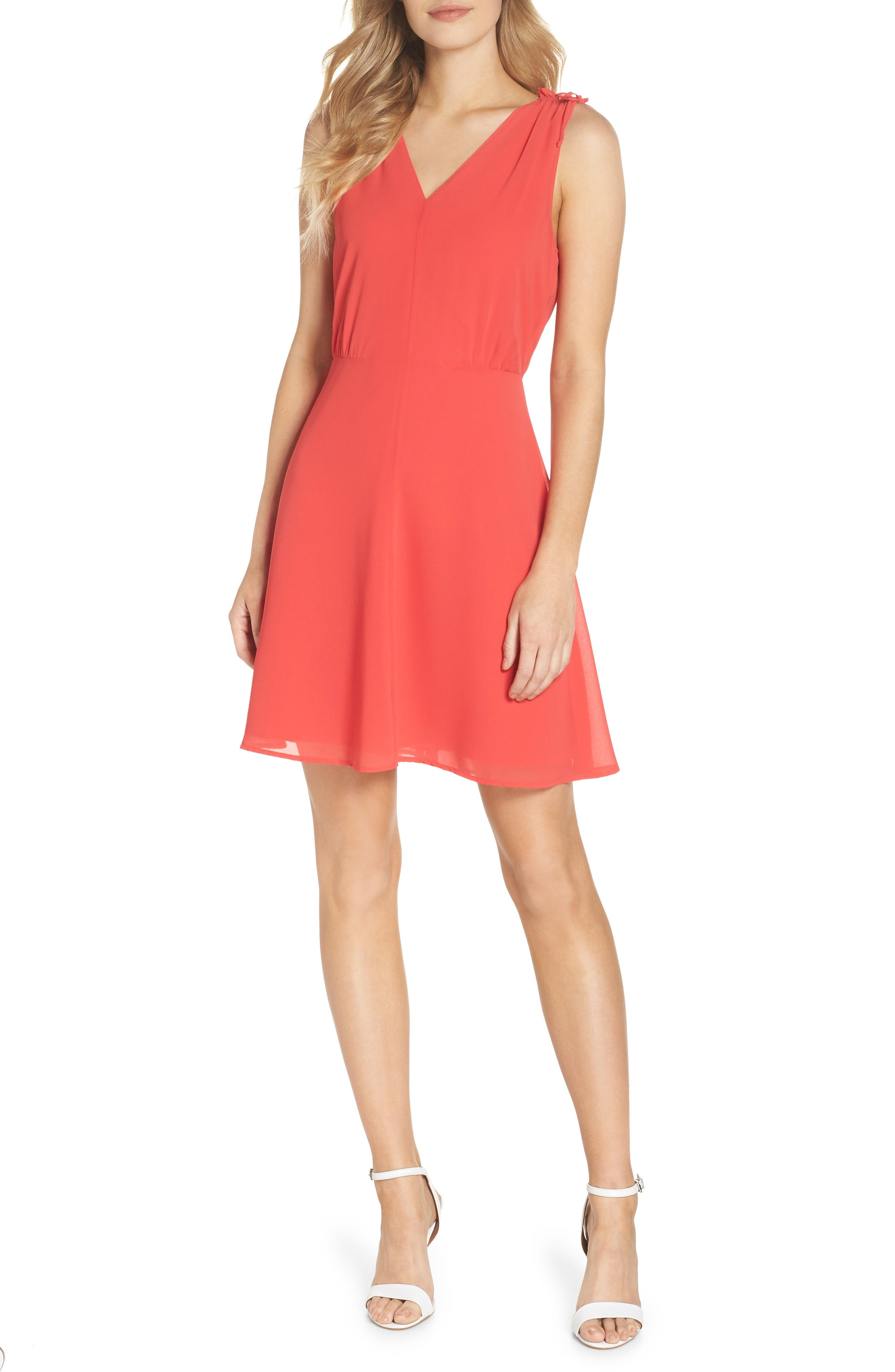 Soufflé V-Neck Chiffon Dress,                             Main thumbnail 1, color,                             Strawberry