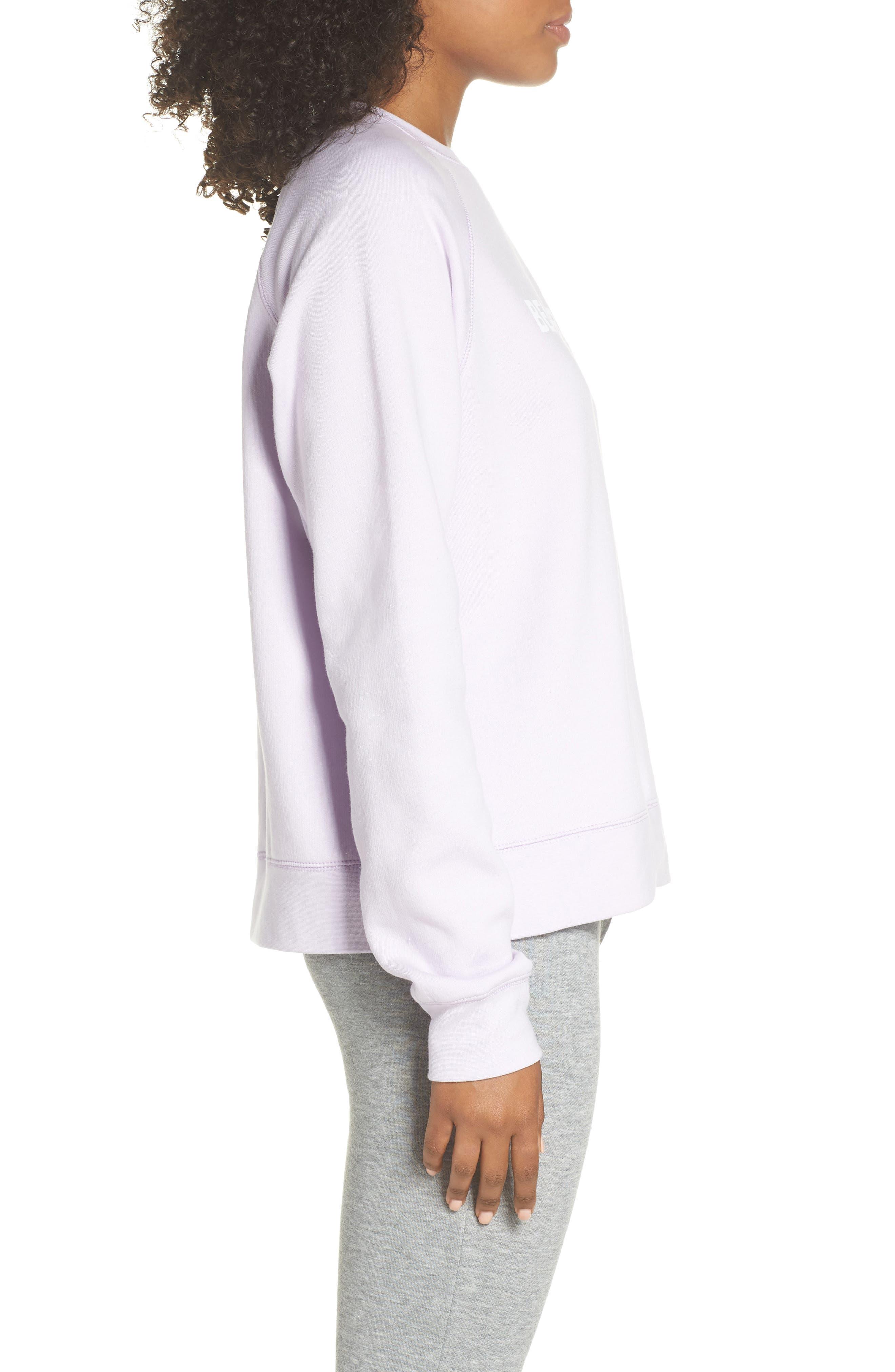 Beach Babe Middle Sister Crewneck Sweatshirt,                             Alternate thumbnail 3, color,                             Soft Lavender