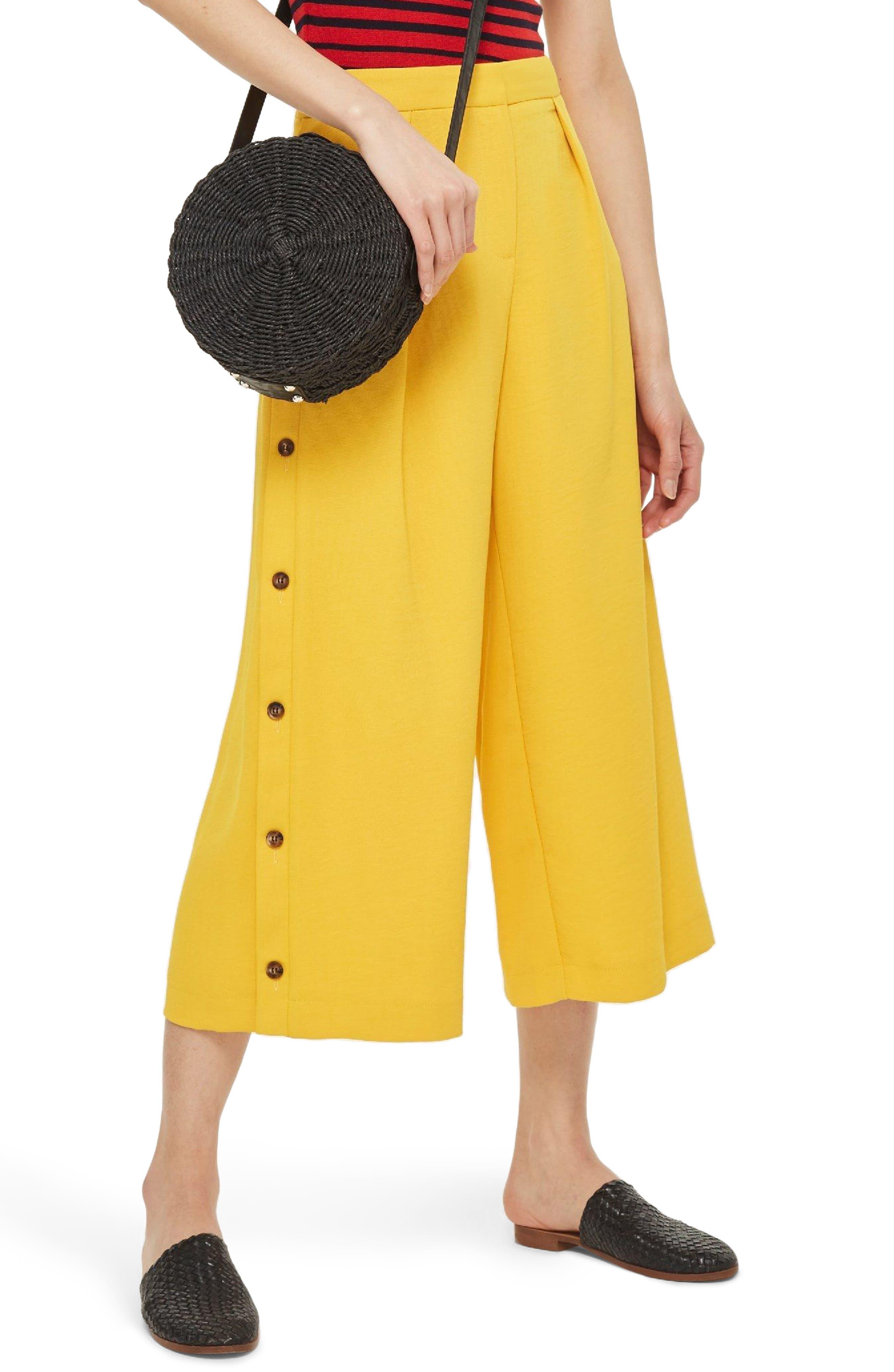 Topshop Horn Button Side Crop Wide Leg Trousers