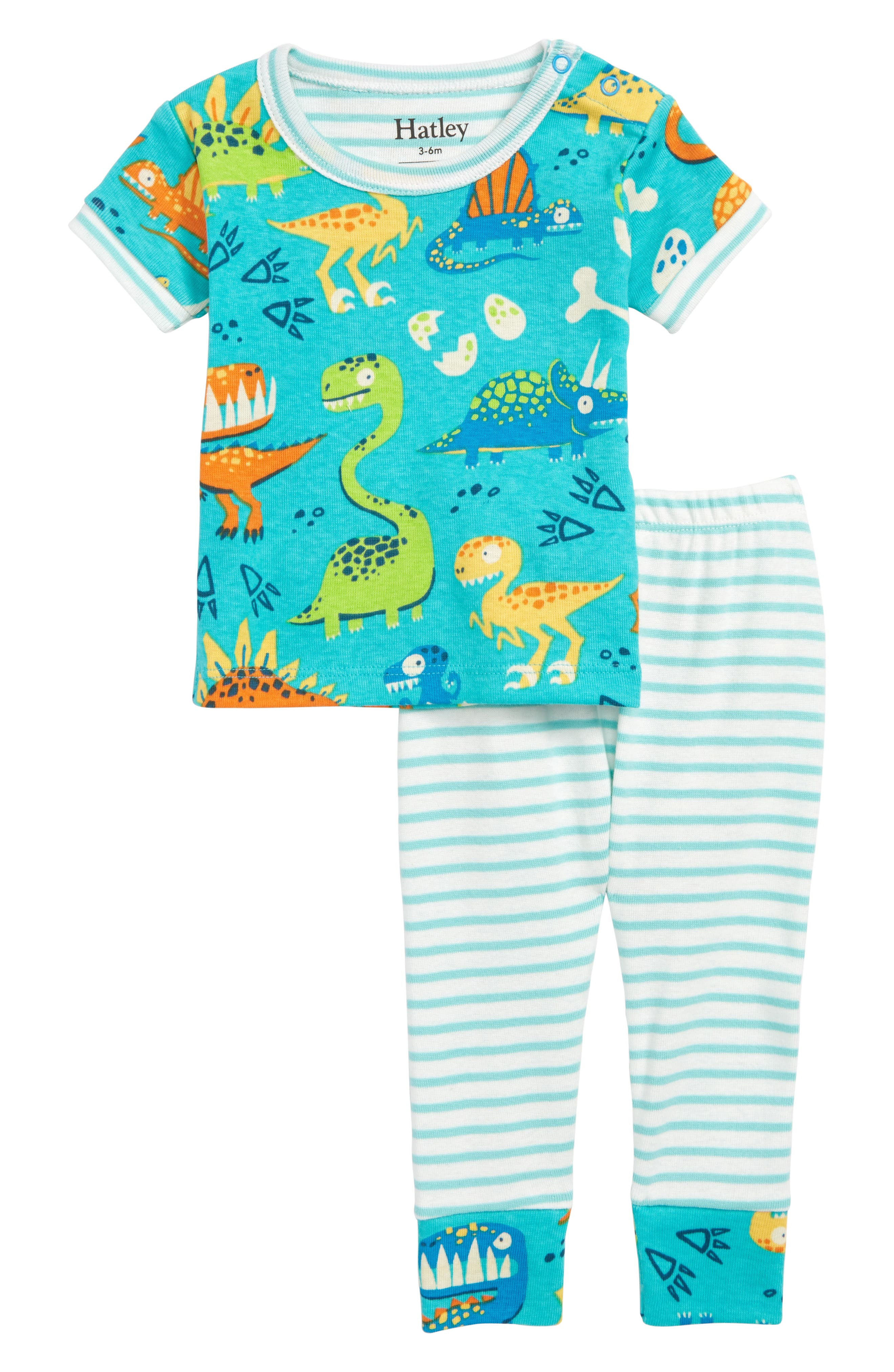 Organic Cotton Fitted Two-Piece Pajamas,                             Main thumbnail 1, color,                             Dinosaur Land
