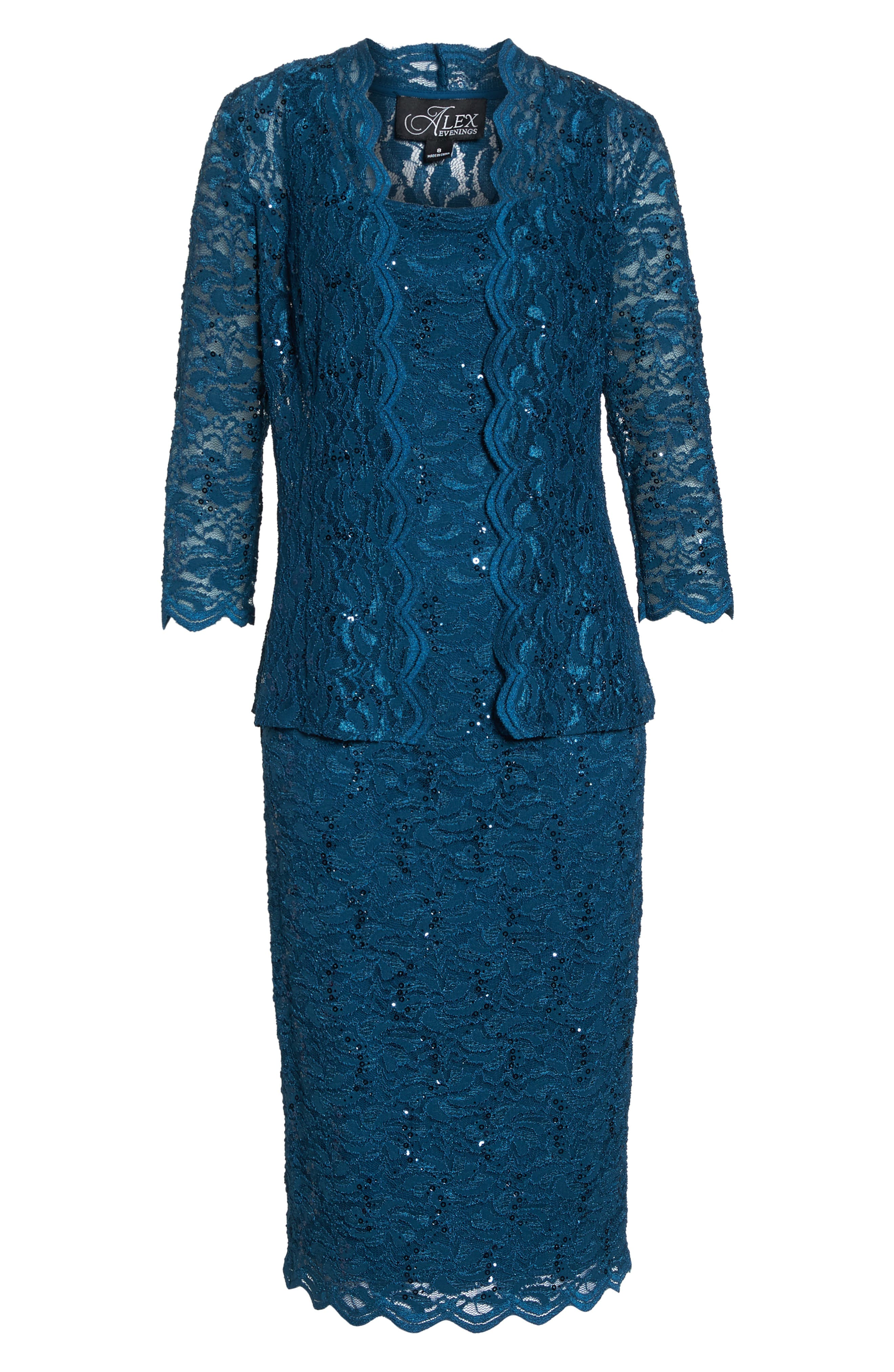 Lace Dress & Jacket,                             Alternate thumbnail 7, color,                             Peacock