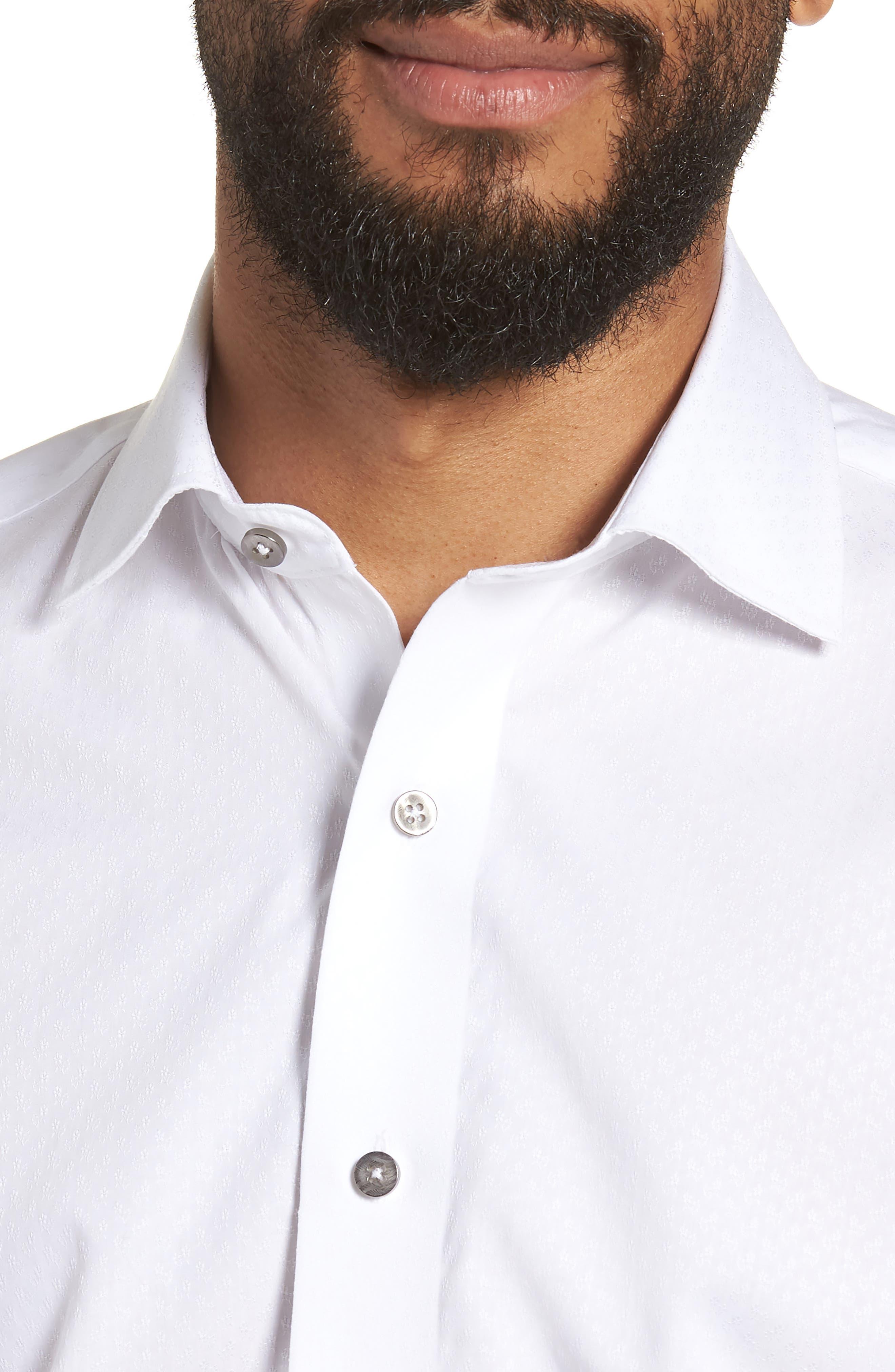 Trim Fit Floral Dress Shirt,                             Alternate thumbnail 2, color,                             White