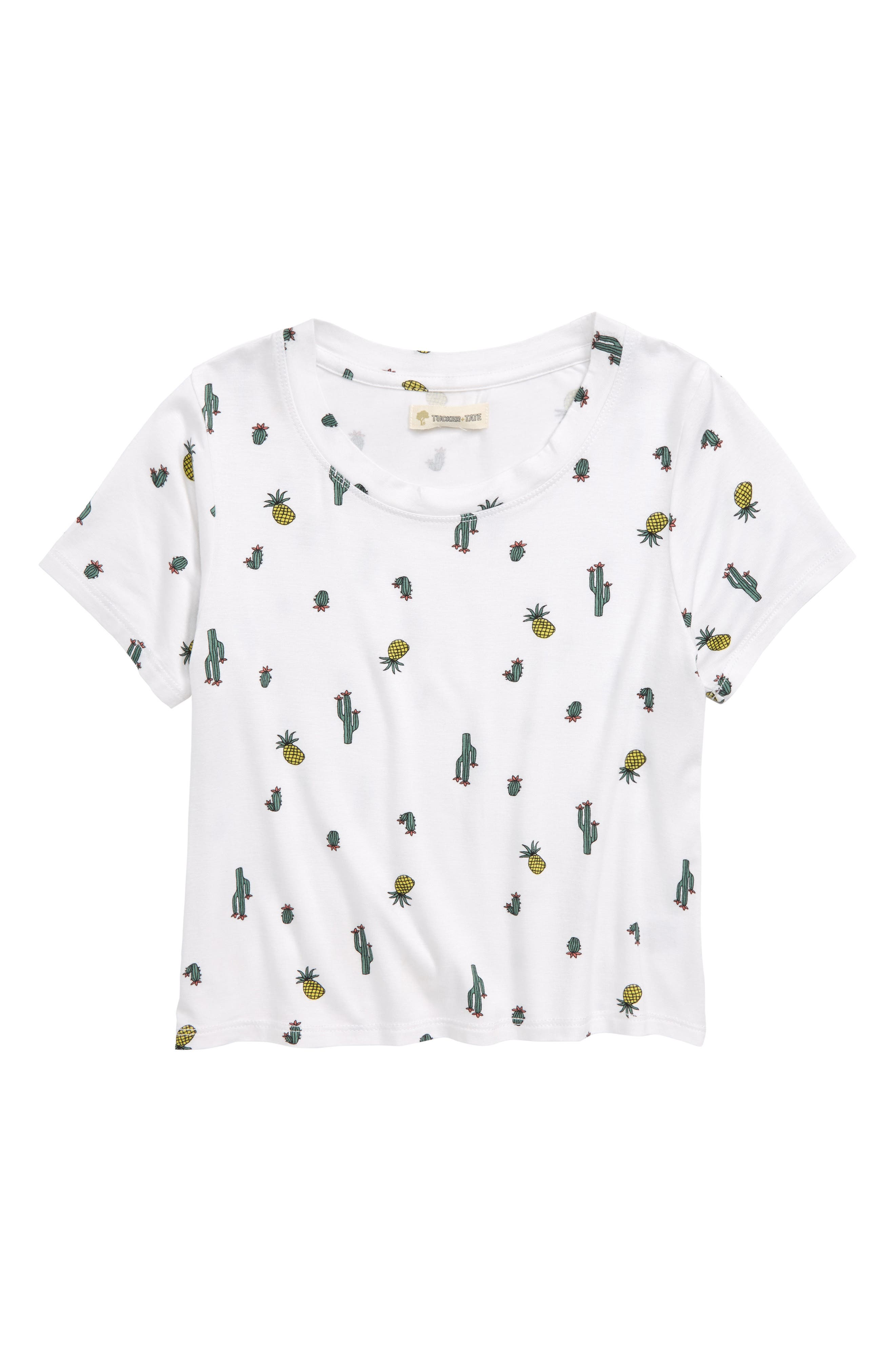 Slim Fit Print Tee,                         Main,                         color, White Tiny Cactus