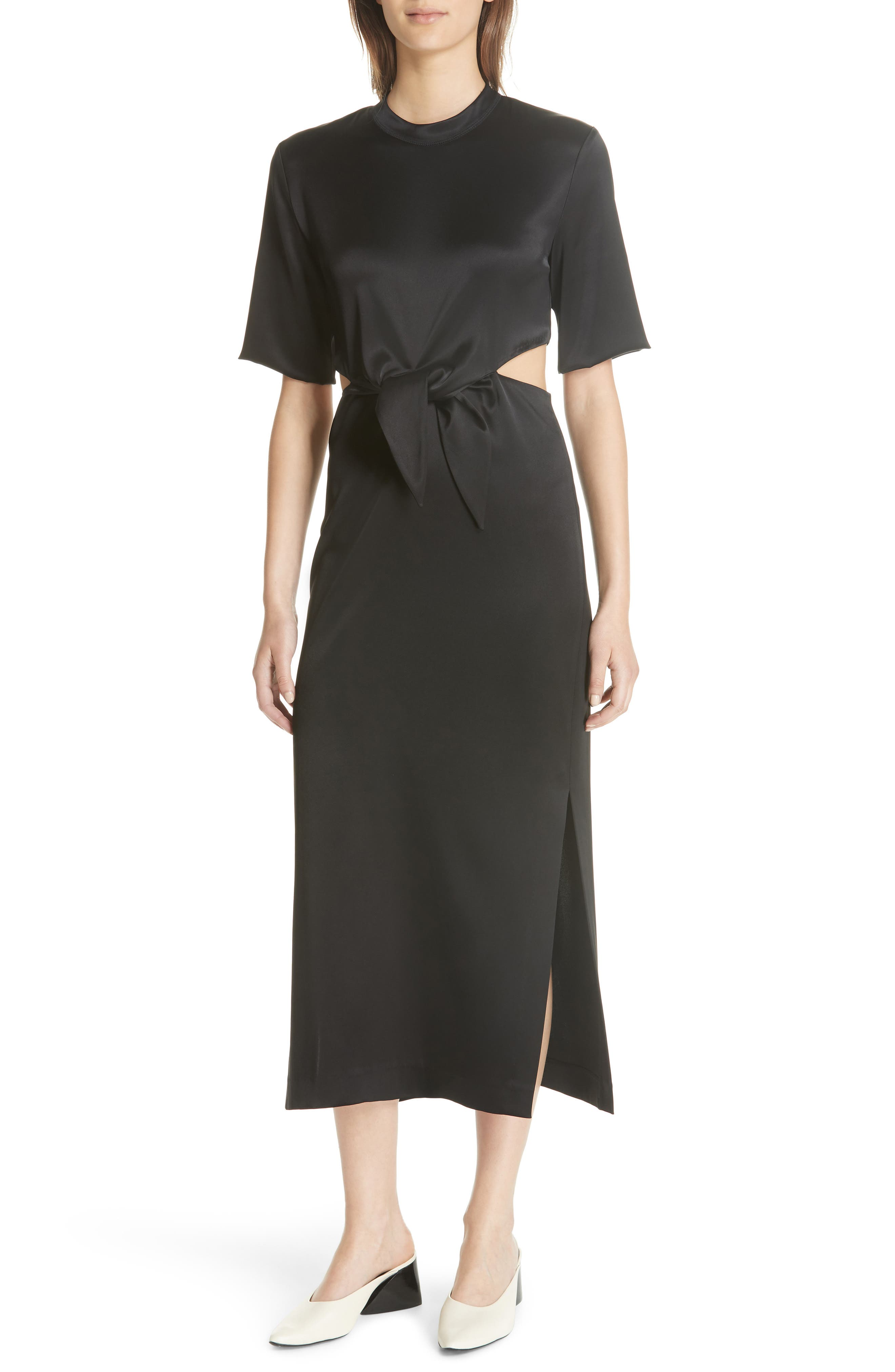 Bhumi Tie Waist Satin Dress,                             Main thumbnail 1, color,                             Black