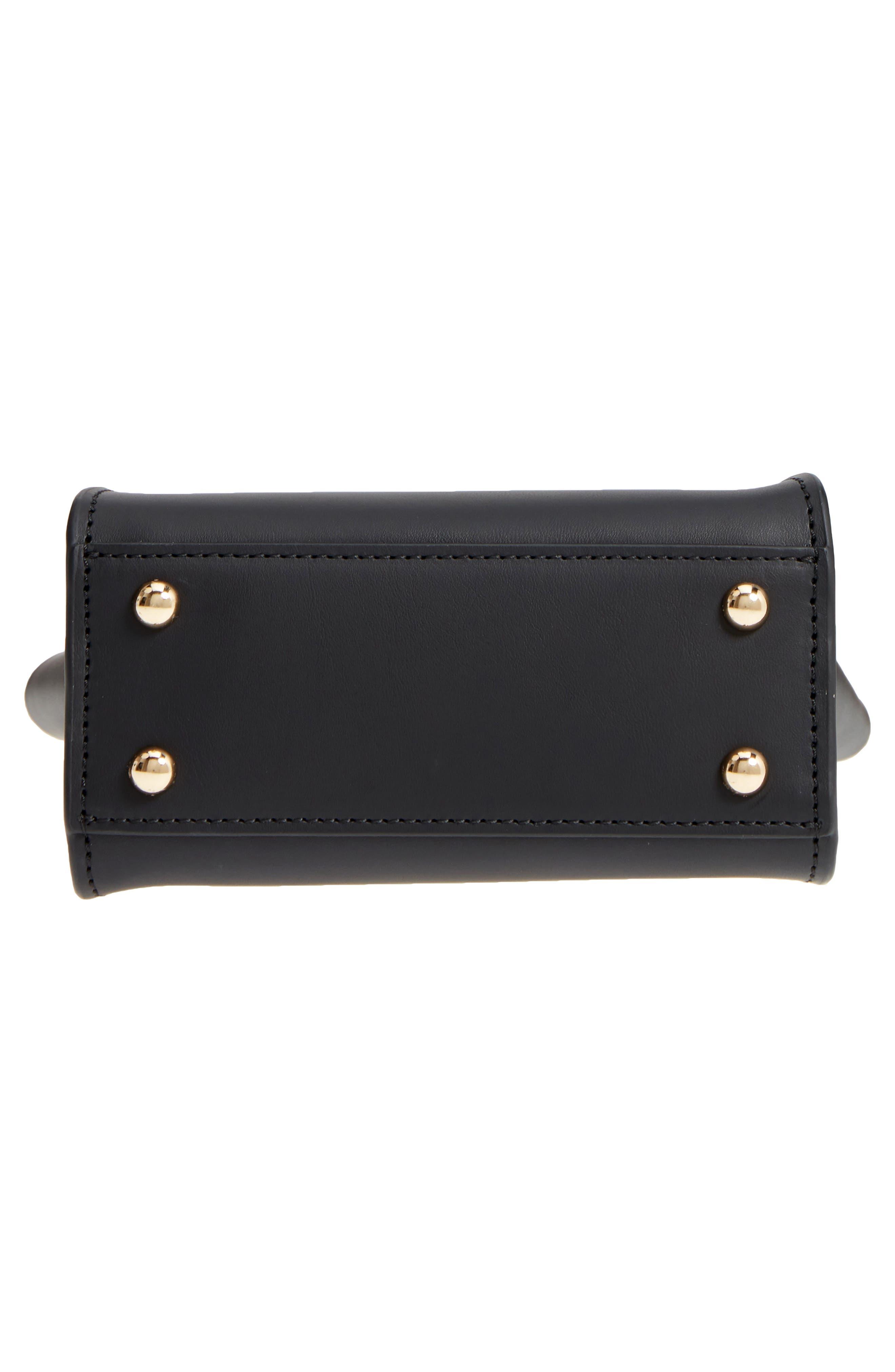 Mini Eartha Iconic Calfskin Leather Top Handle Satchel,                             Alternate thumbnail 6, color,                             Black