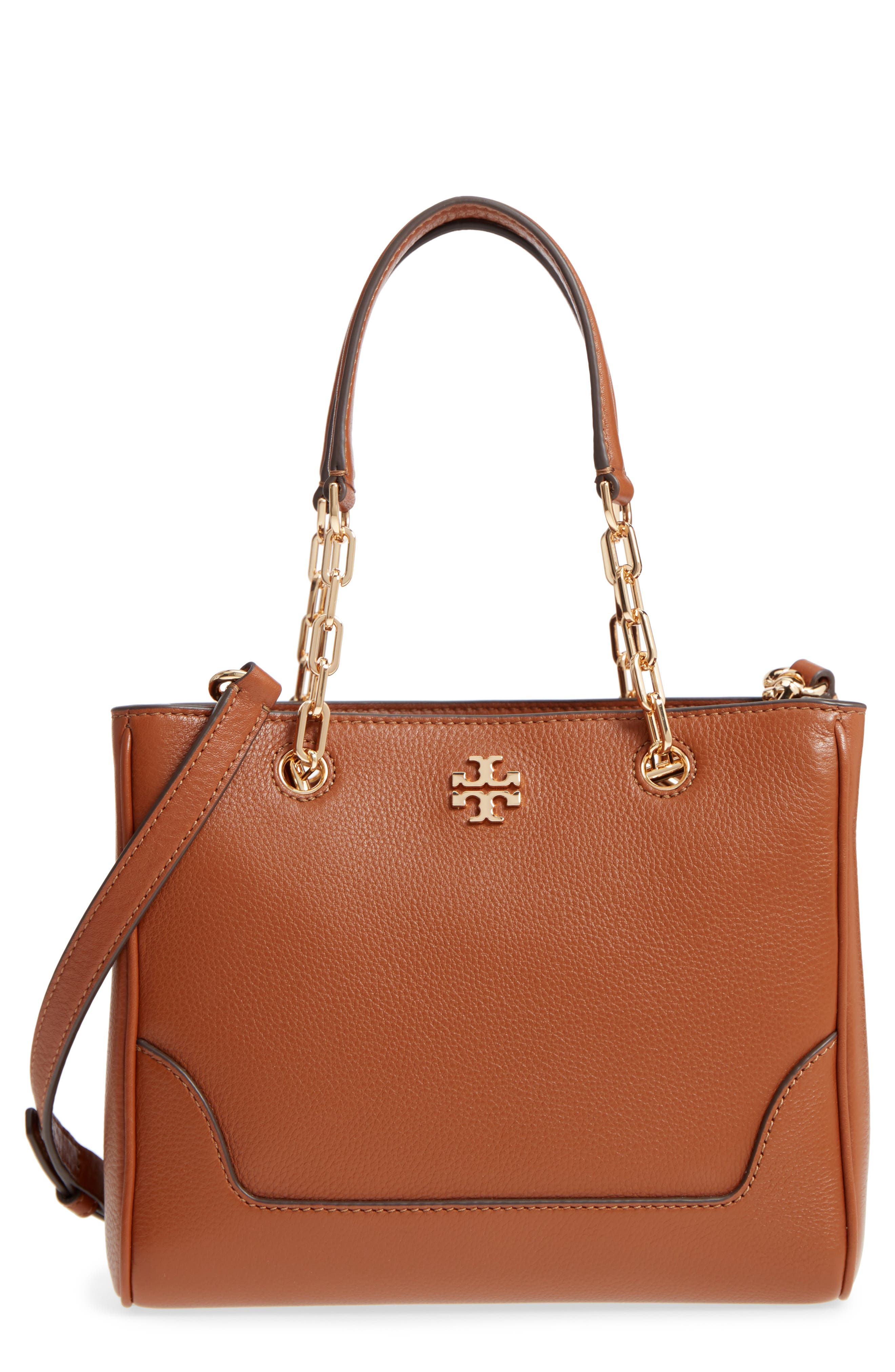 SMALL MARSDEN LEATHER TOTE - BROWN