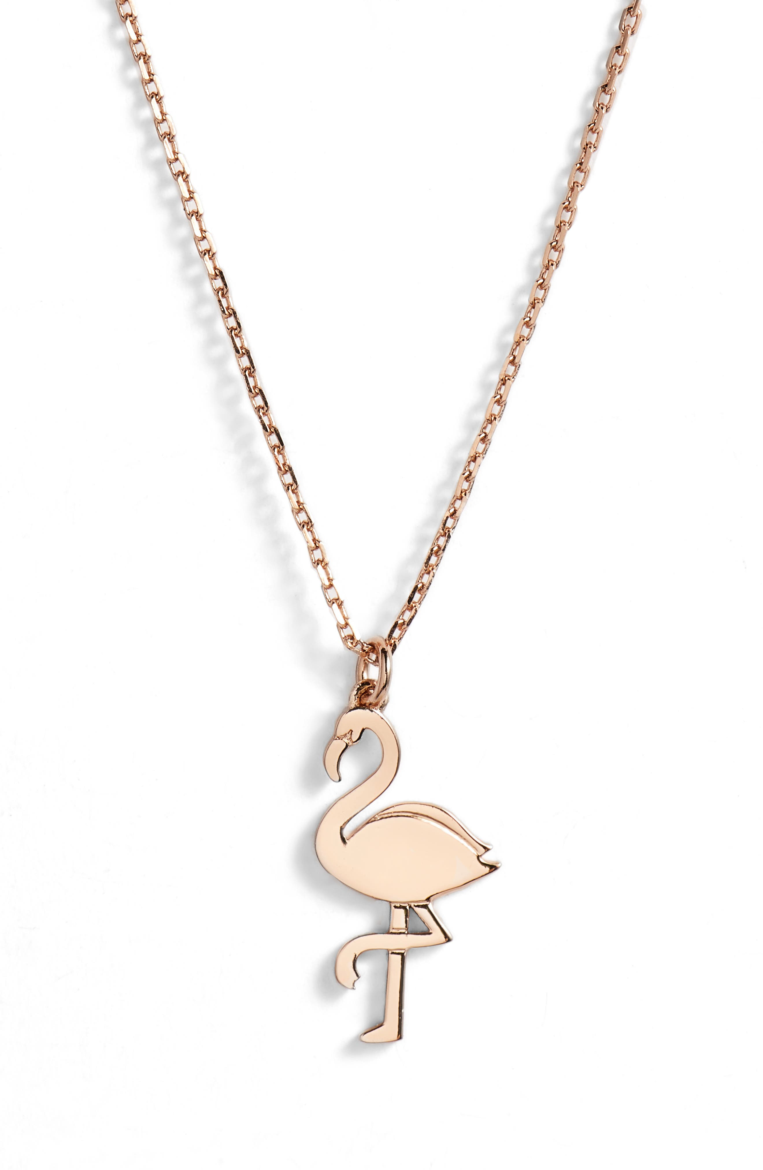 by the pool flamingo pendant necklace,                             Main thumbnail 1, color,                             Rose Gold