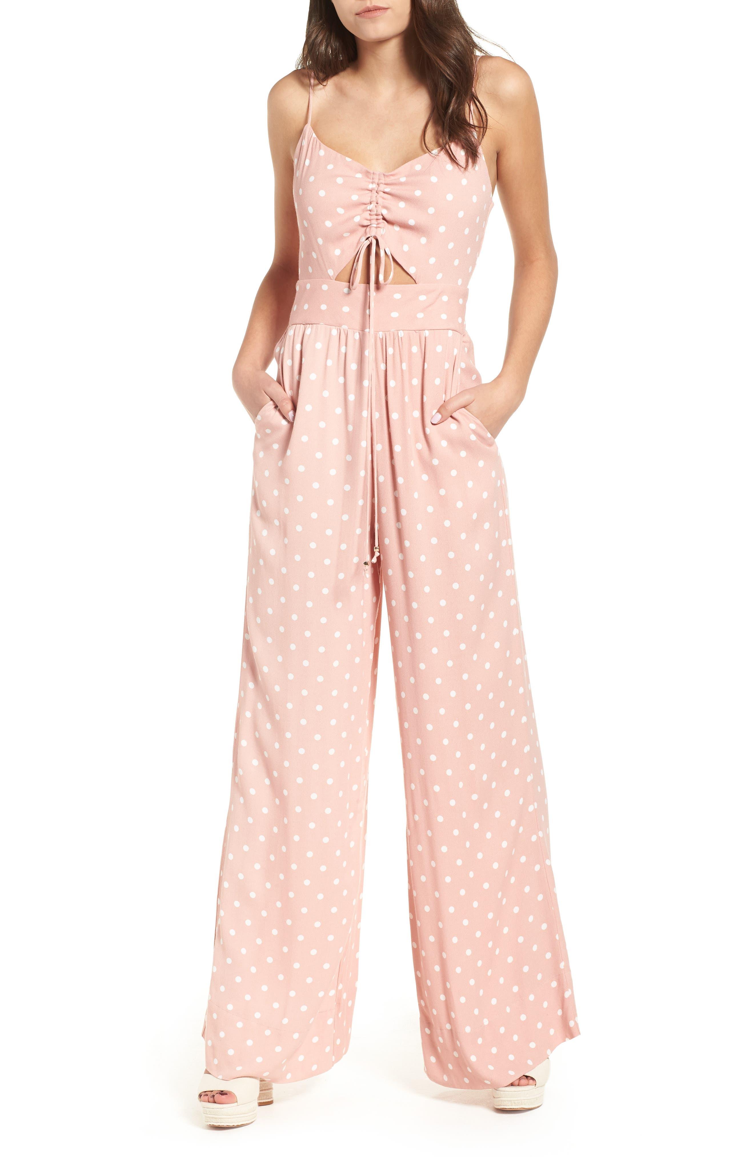 Milan Tie Front Jumpsuit,                             Main thumbnail 1, color,                             Misty Rose Polka Dot