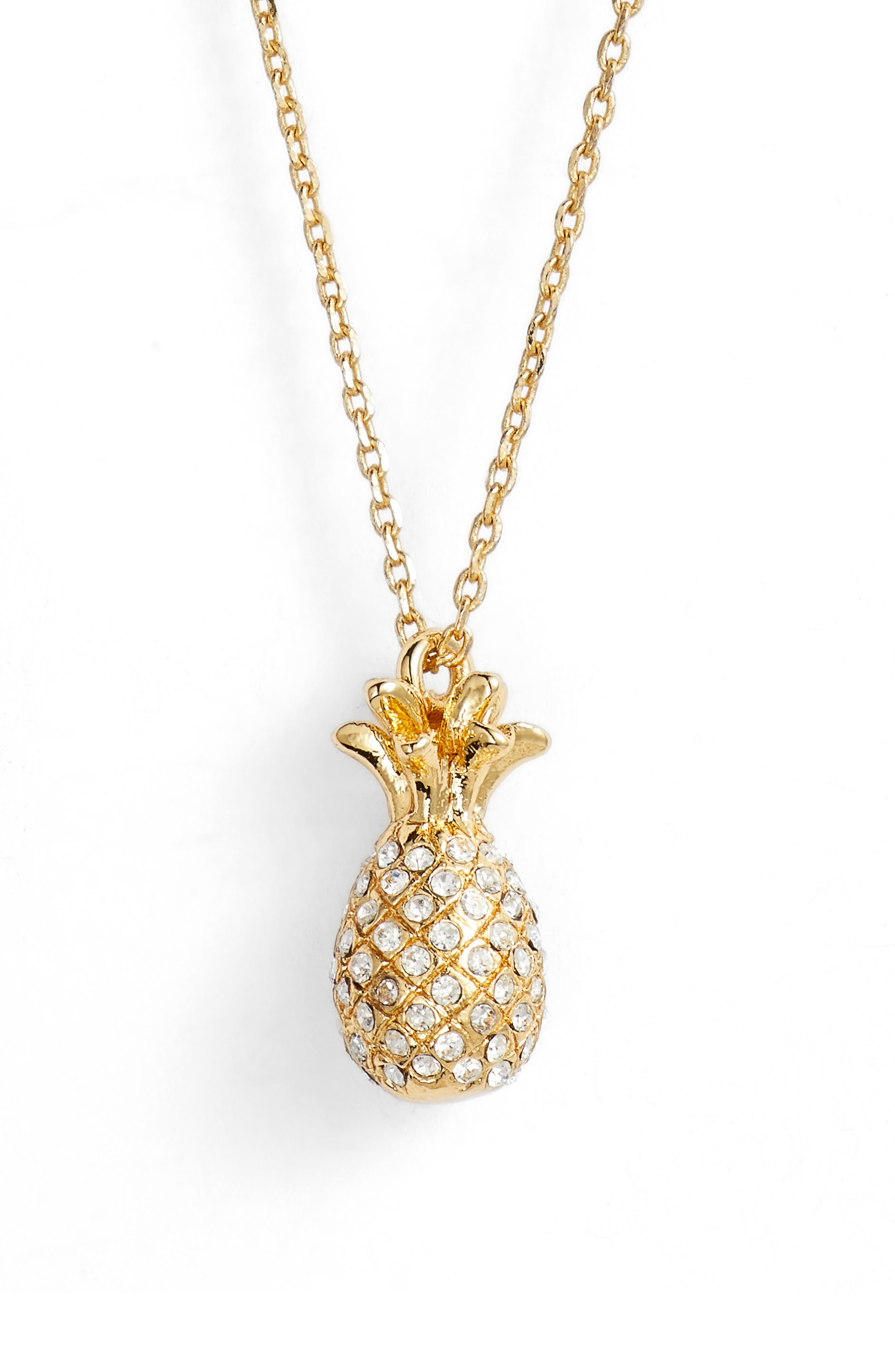 by the pool pavé pineapple pendant necklace,                         Main,                         color, Clear/ Gold