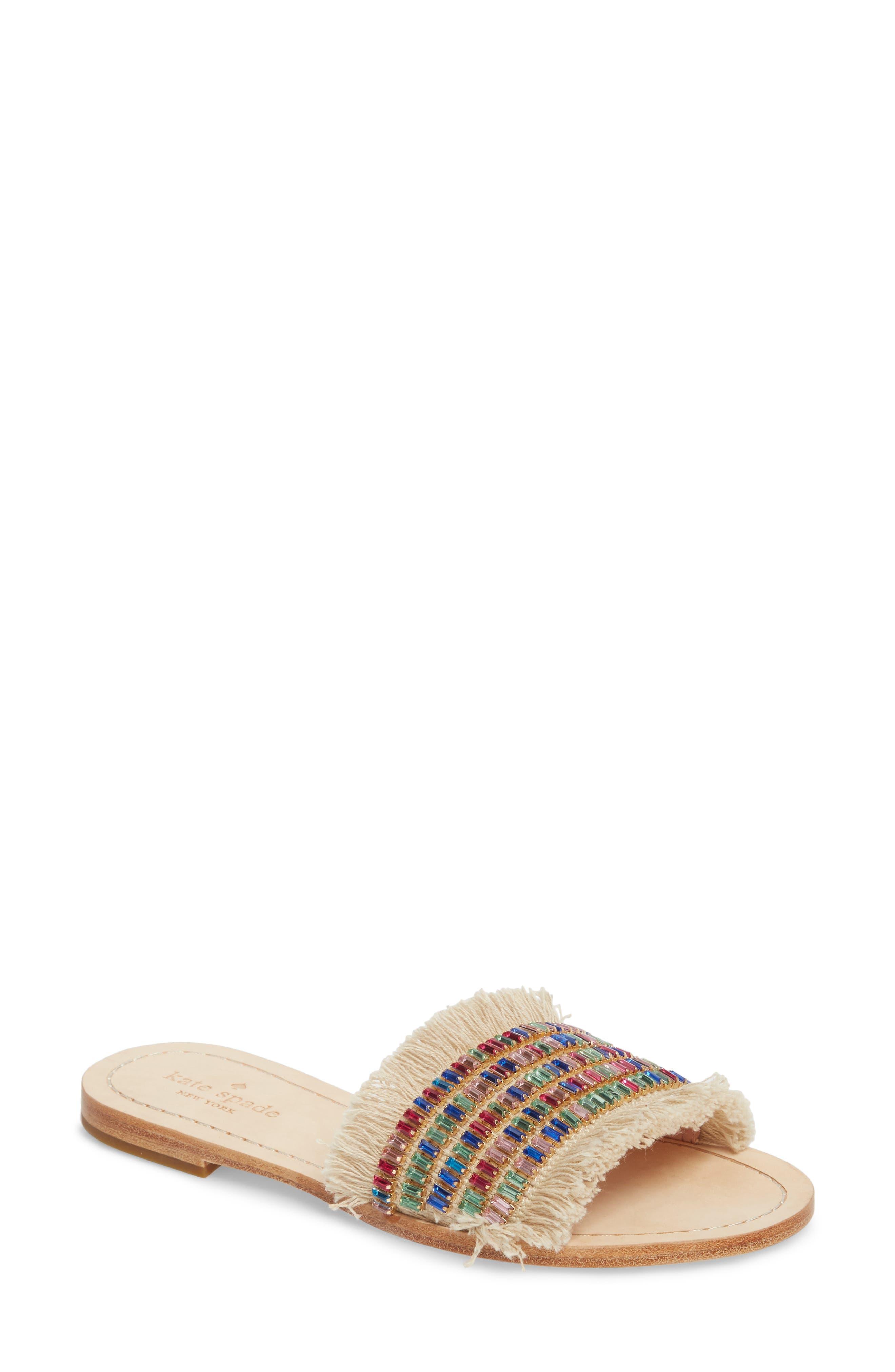 solaina slide sandal,                             Main thumbnail 1, color,                             Natural/ Multi