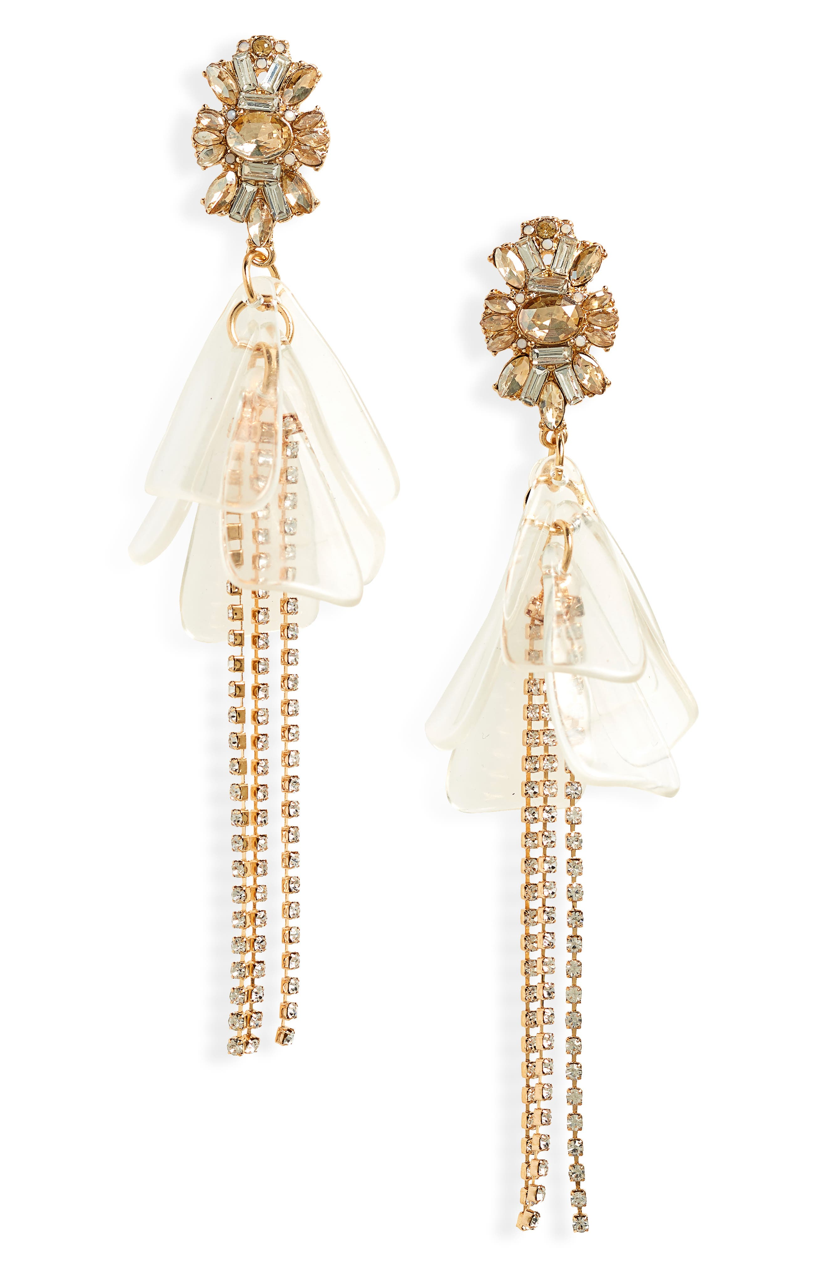 Flower Drop Earrings,                             Main thumbnail 1, color,                             Gold/ Clear/ Crystal