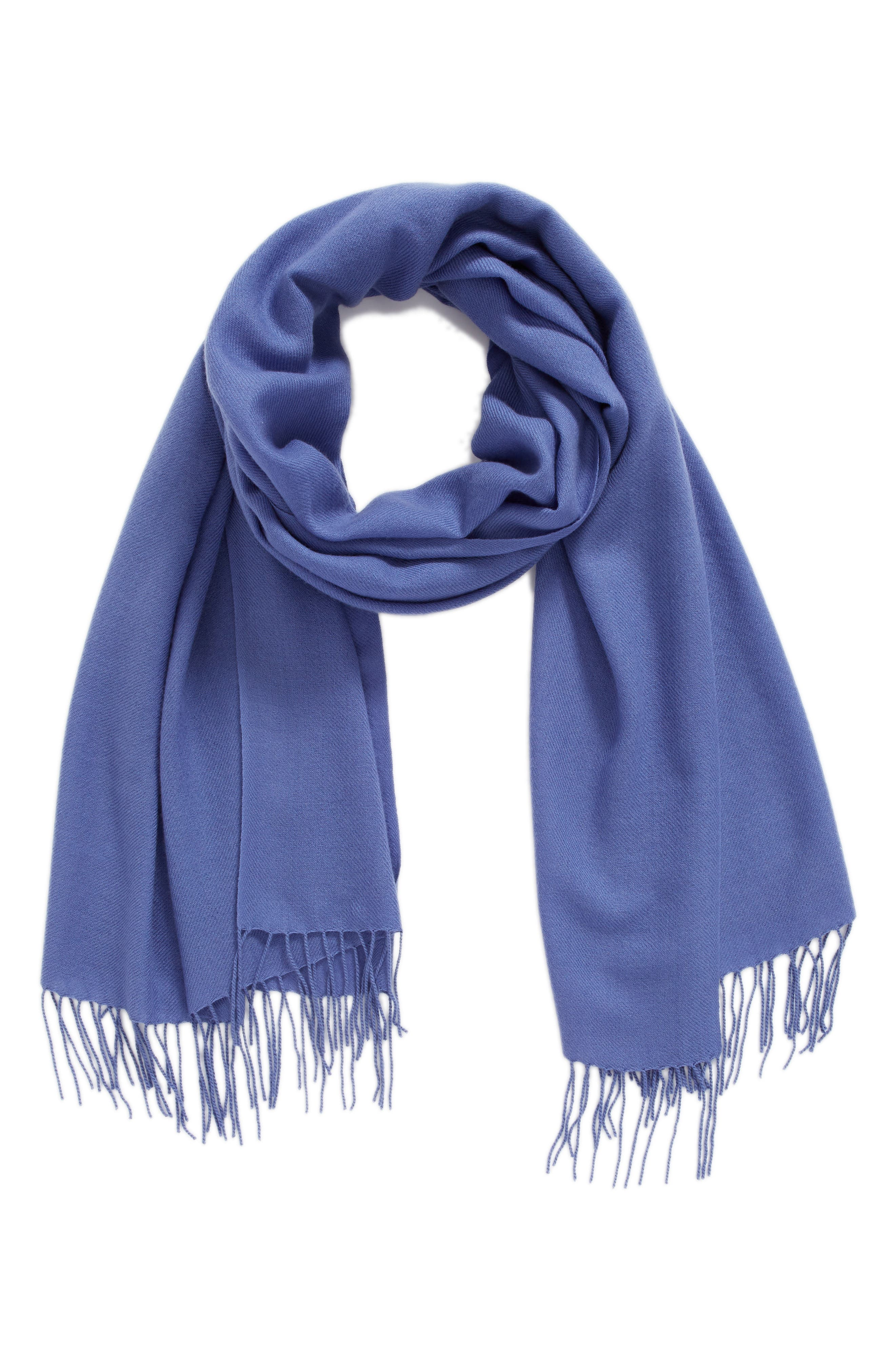 Tissue Weight Wool & Cashmere Scarf,                             Alternate thumbnail 2, color,                             Blue Denim