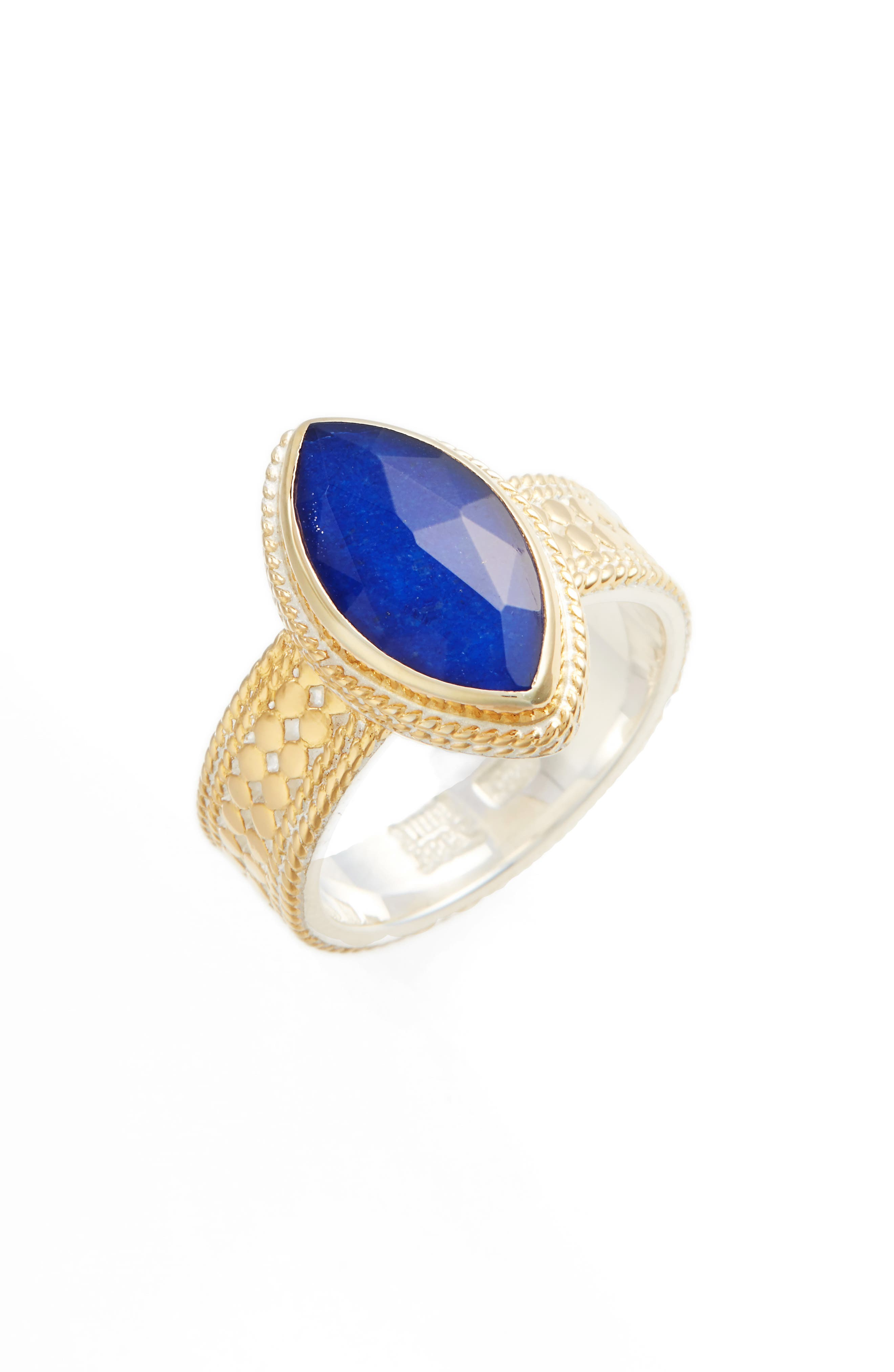 Lapis Marquise Stone Ring,                         Main,                         color, Gold/ Lapis