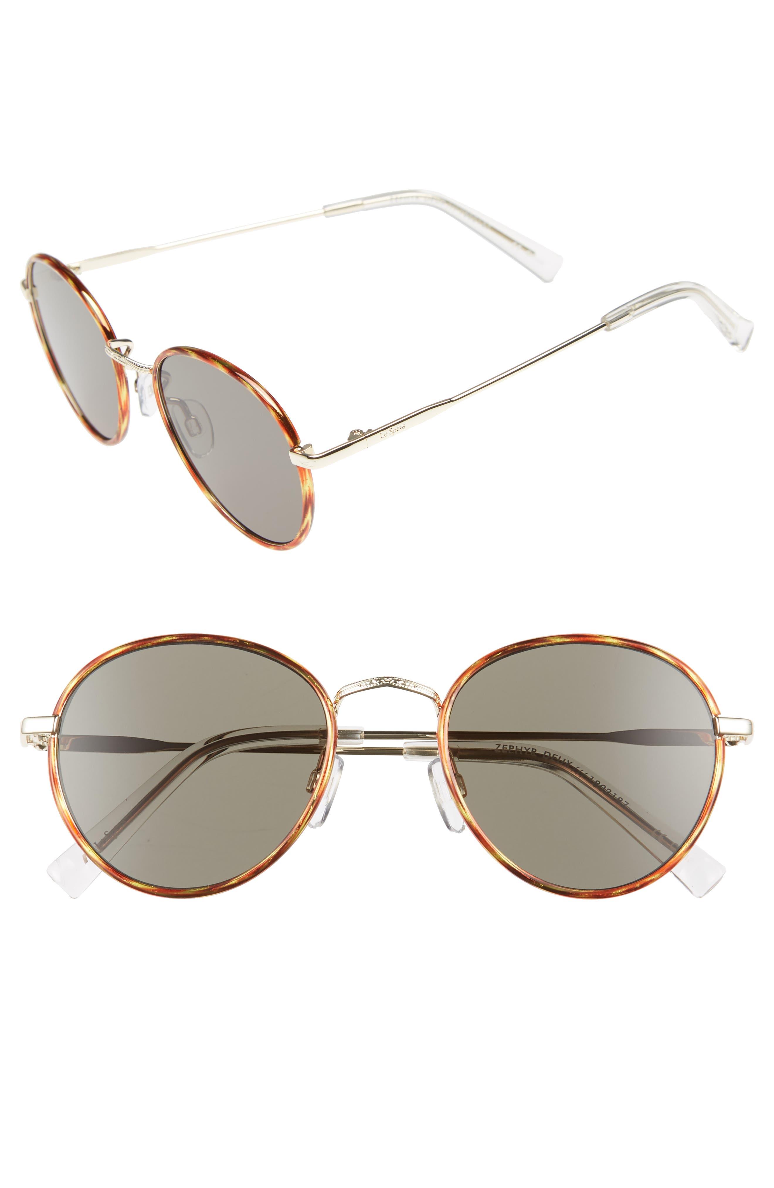 Zephyr Deux 50mm Round Sunglasses,                             Main thumbnail 1, color,                             Vintage Tortoise