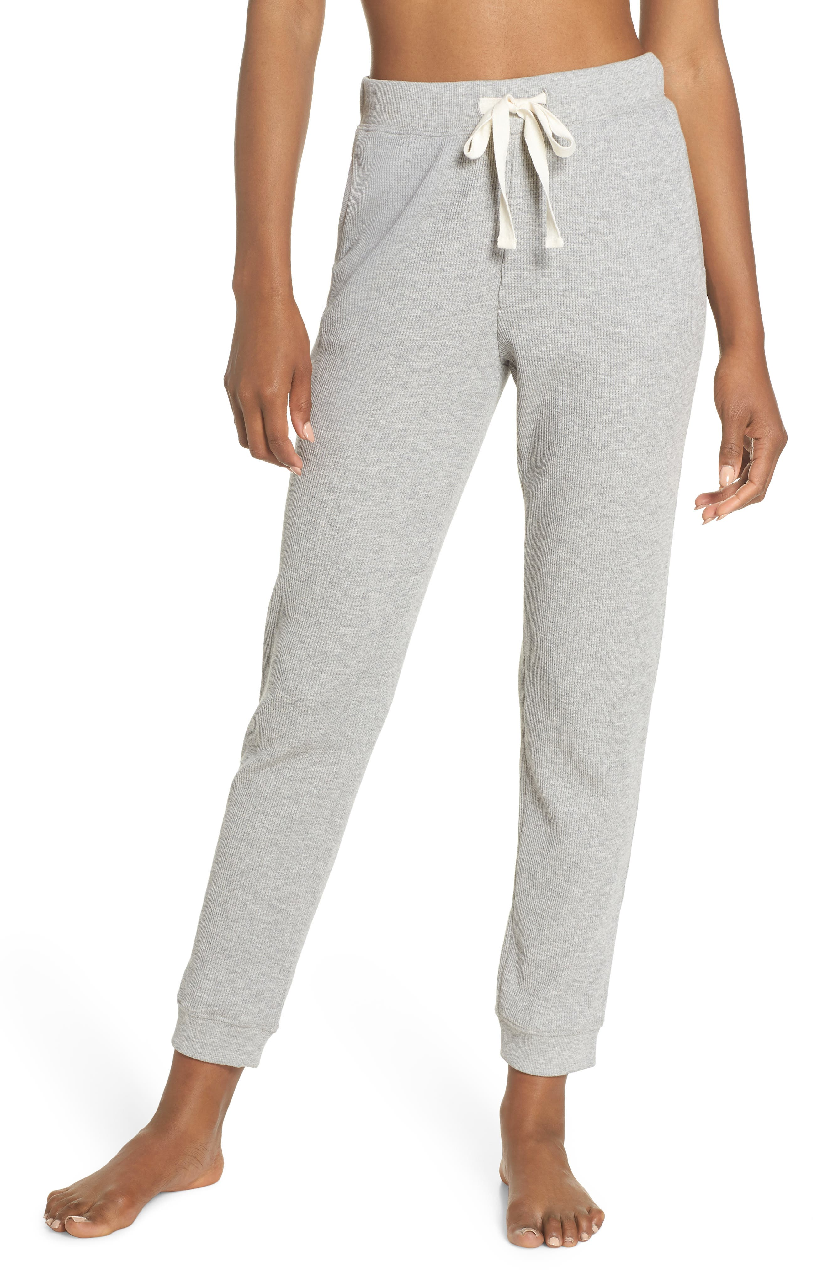 Edie Waffle Knit Lounge Pants,                         Main,                         color, Heather Grey