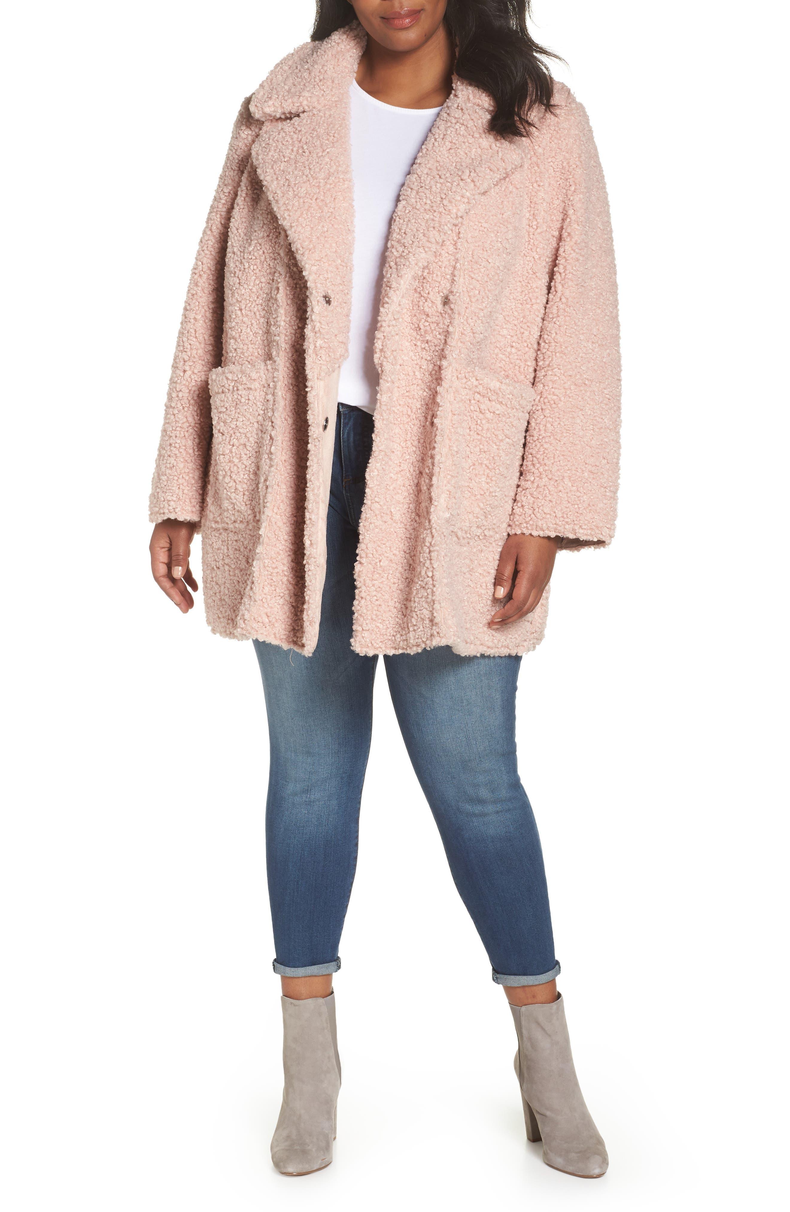 Faux Shearling Notch Lapel Jacket,                         Main,                         color, Blush Pink