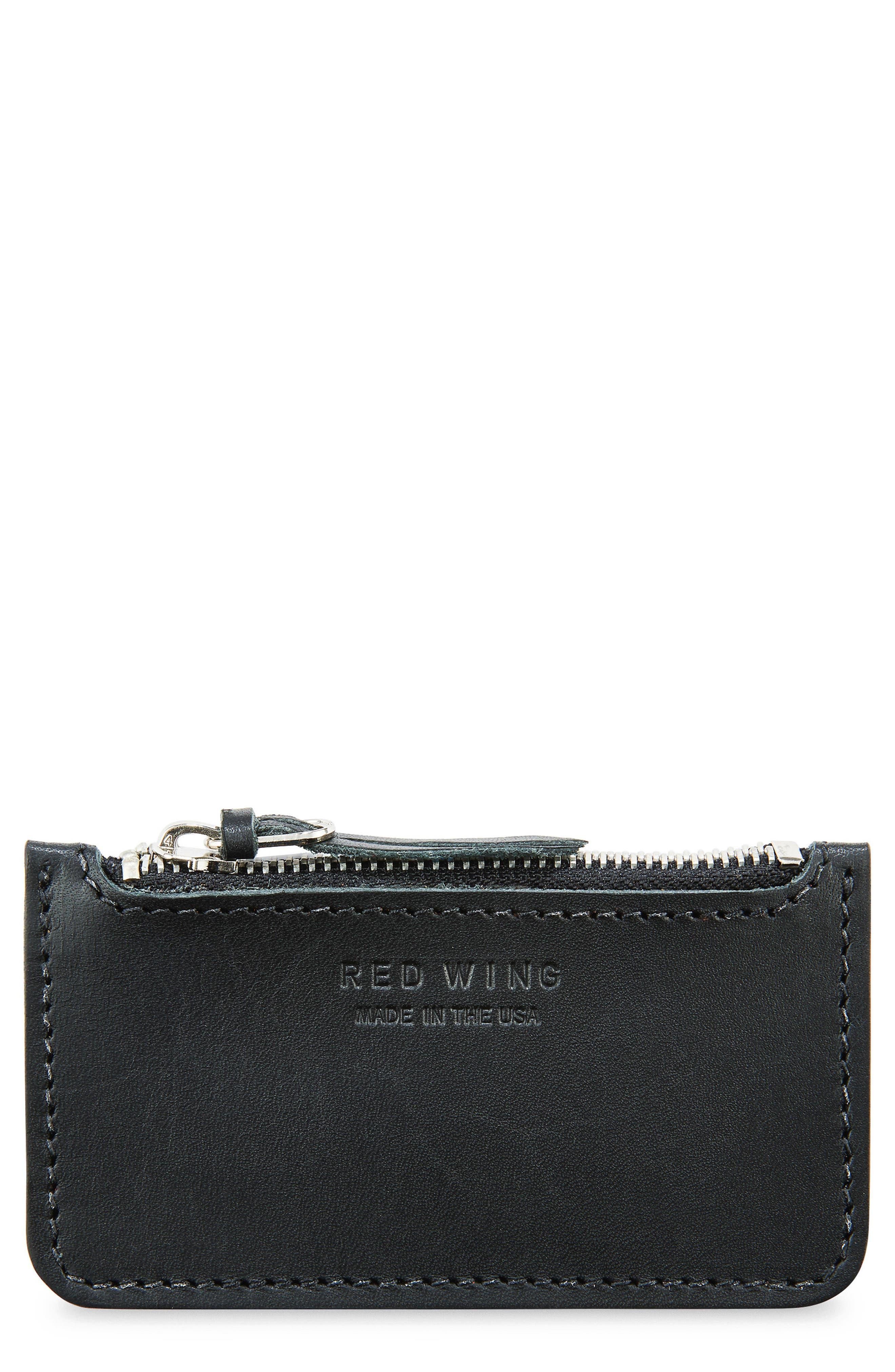 Once Leather Zipper Pouch,                             Main thumbnail 1, color,                             Black