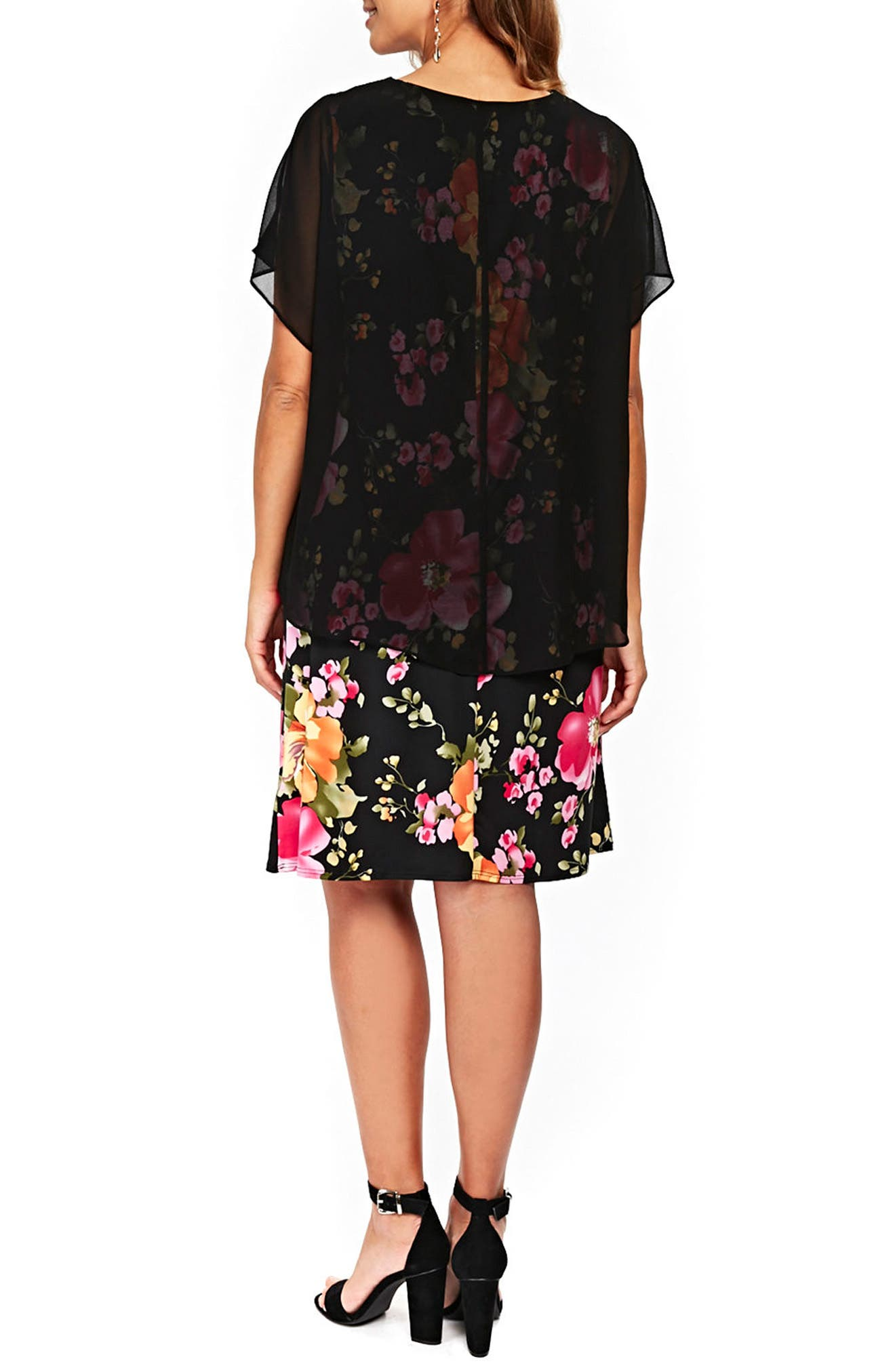 Floral Overlay Shift Dress,                             Alternate thumbnail 2, color,                             Black
