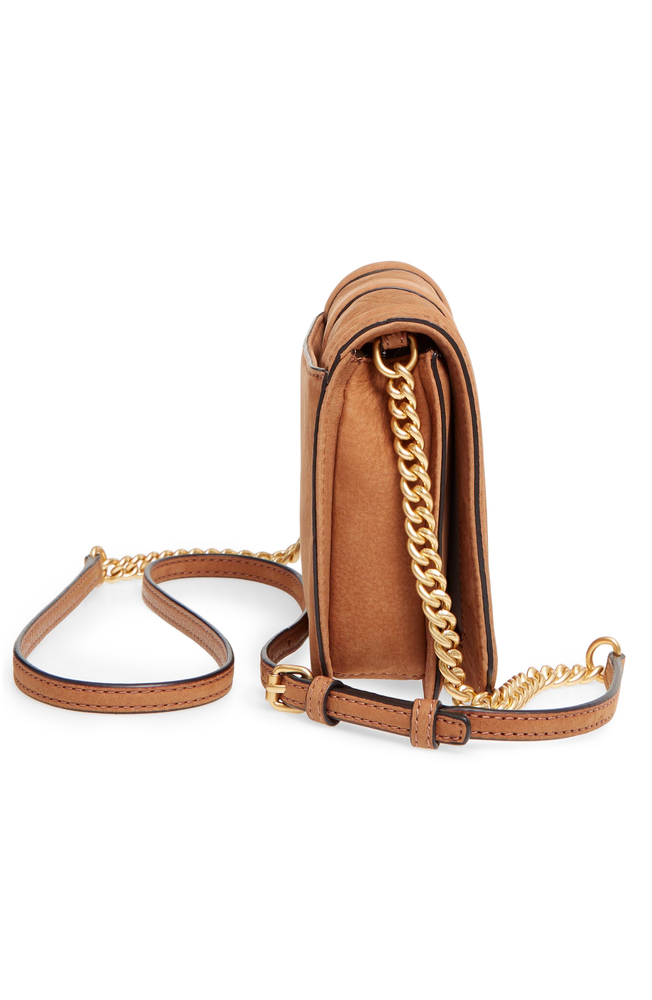 Small Love Nubuck Leather Crossbody Bag,                             Alternate thumbnail 6, color,                             Almond