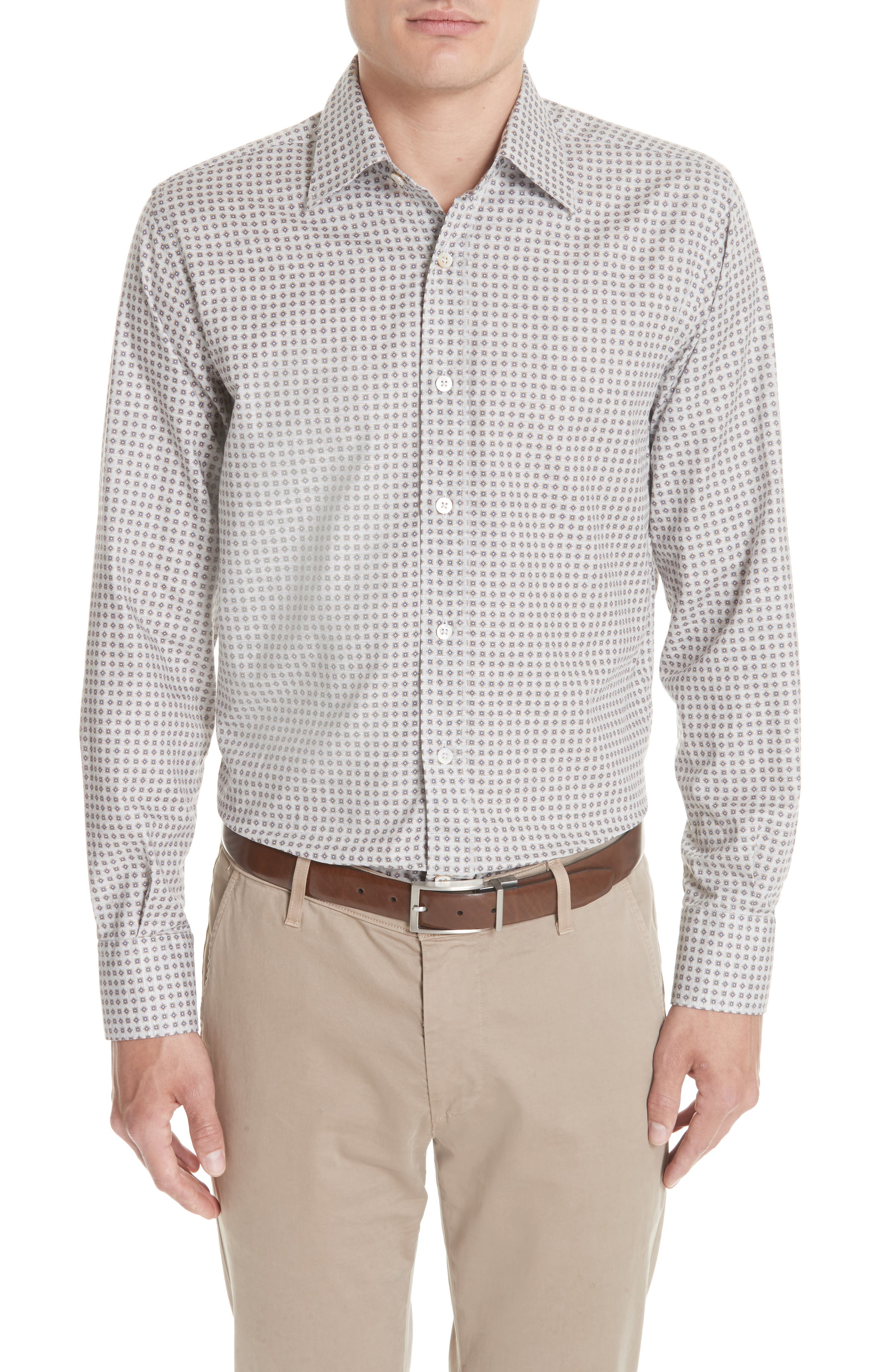 Regular Fit Print Sport Shirt,                         Main,                         color, Beige