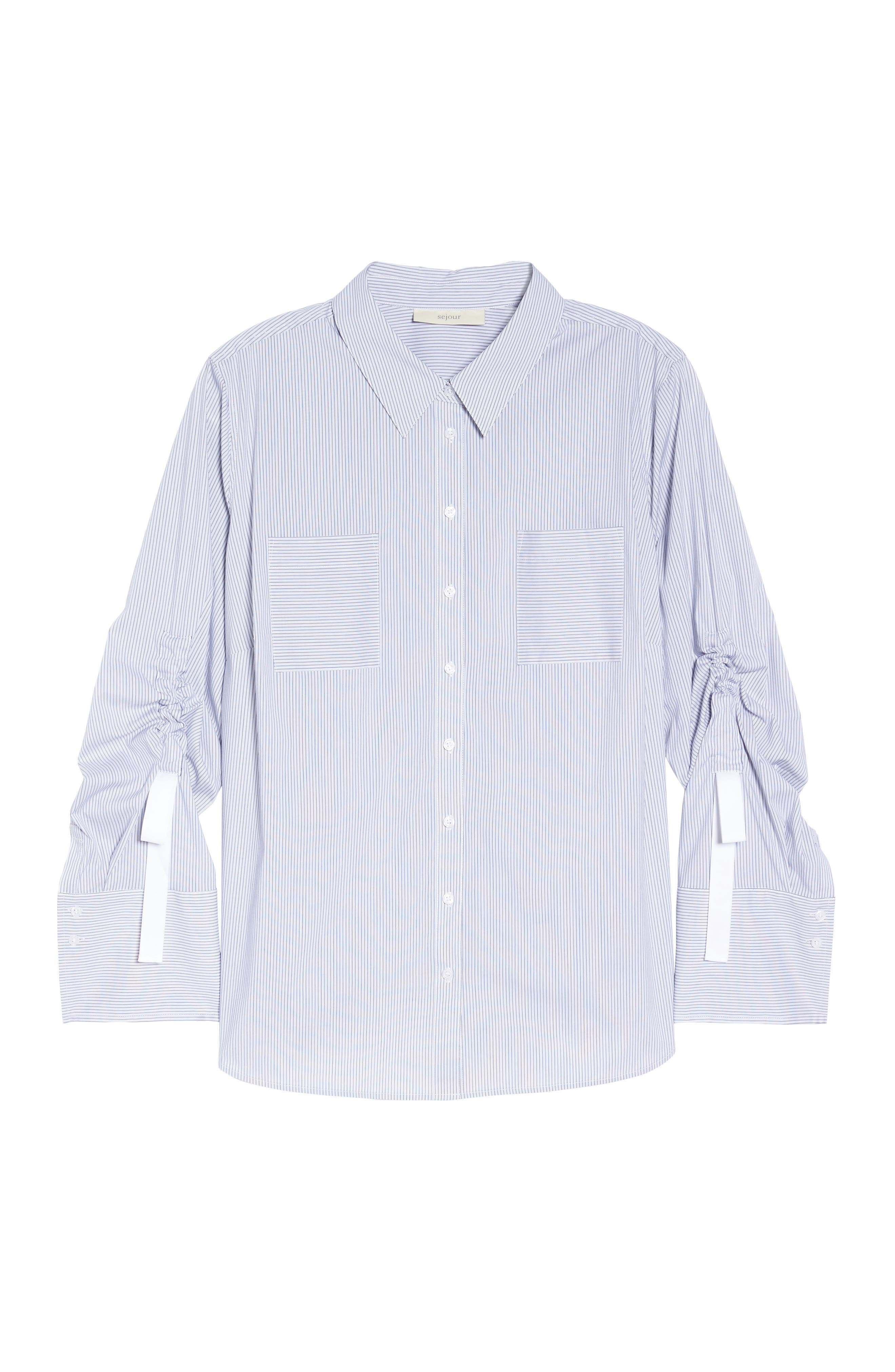 Gathered Sleeve Button Front Shirt,                             Alternate thumbnail 7, color,                             Blue/ White Stripe