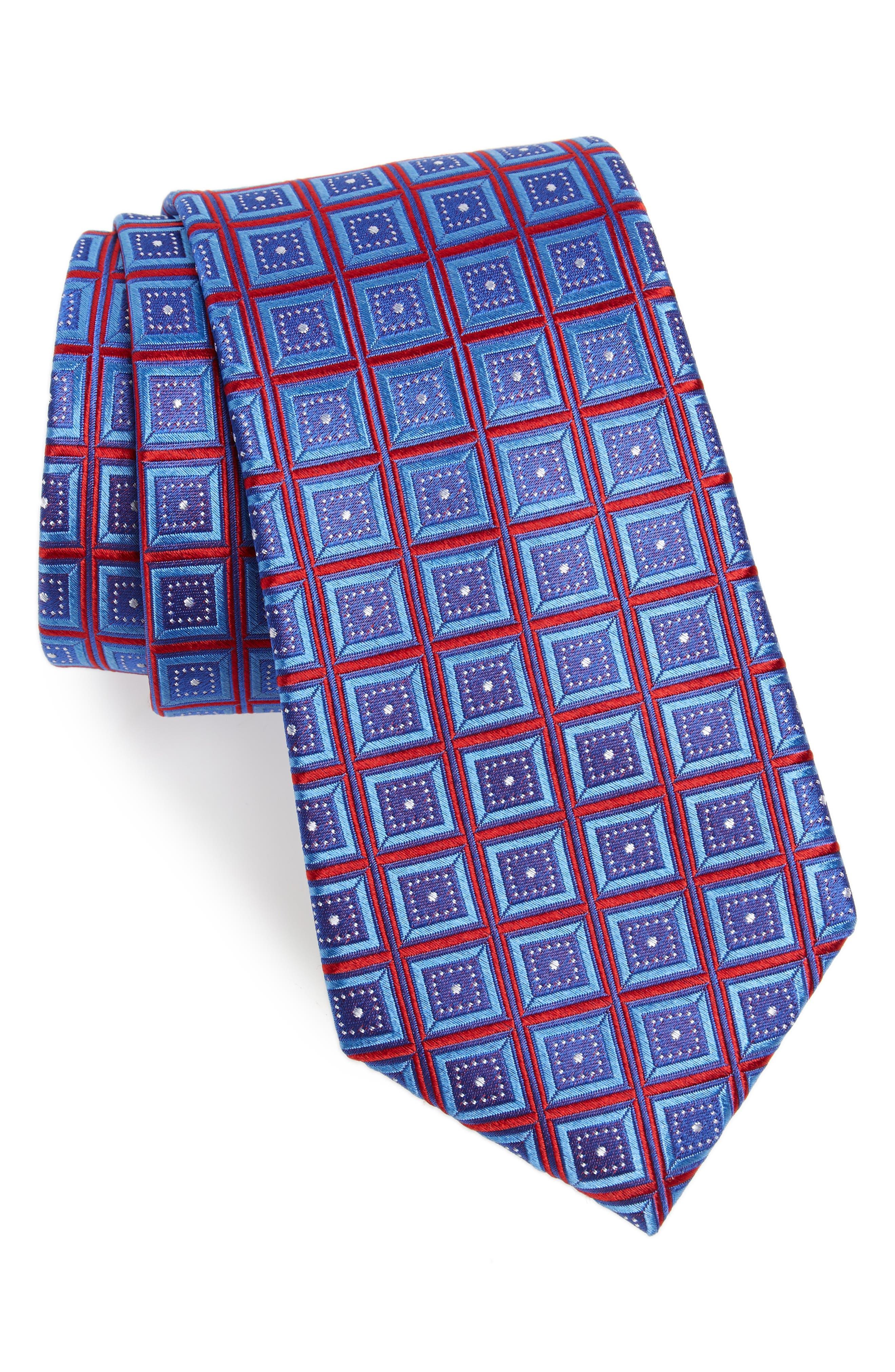 Sublime Squares Geometric Silk Tie,                         Main,                         color, Red Marina