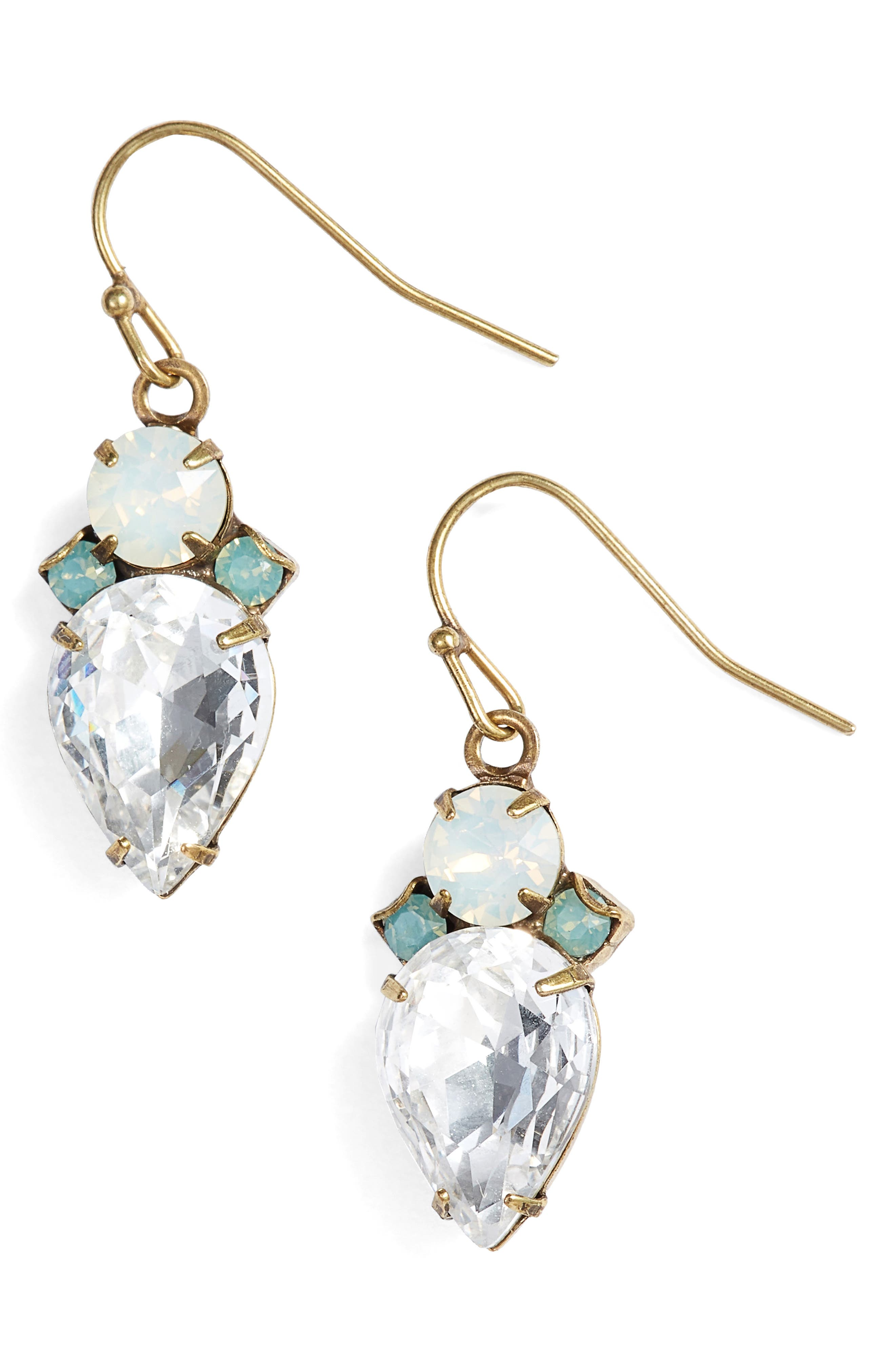 Tearing Up Crystal Drop Earrings,                             Main thumbnail 1, color,                             Clear