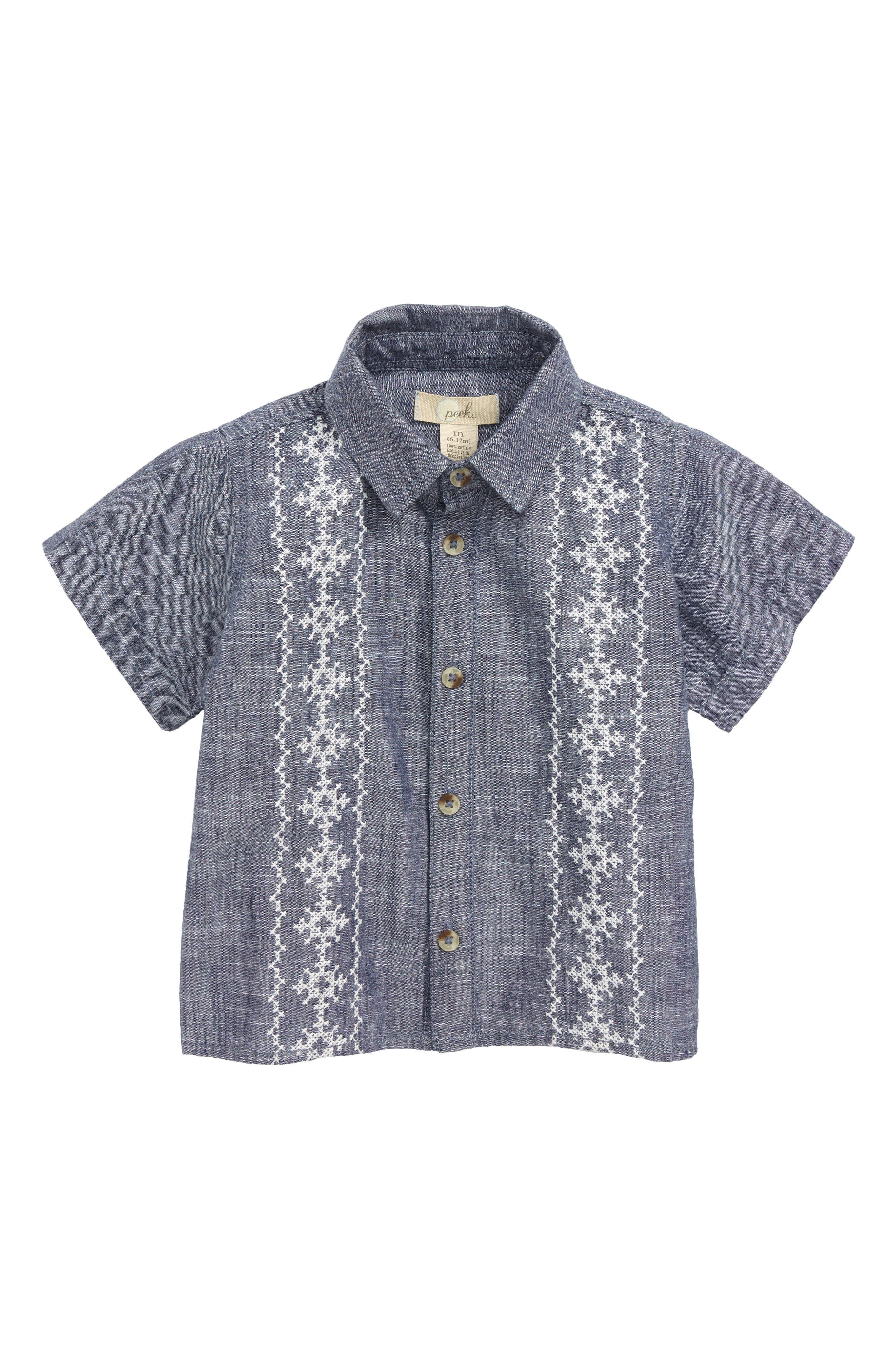 Baby Cuba Woven Shirt,                             Main thumbnail 1, color,                             Light Blue