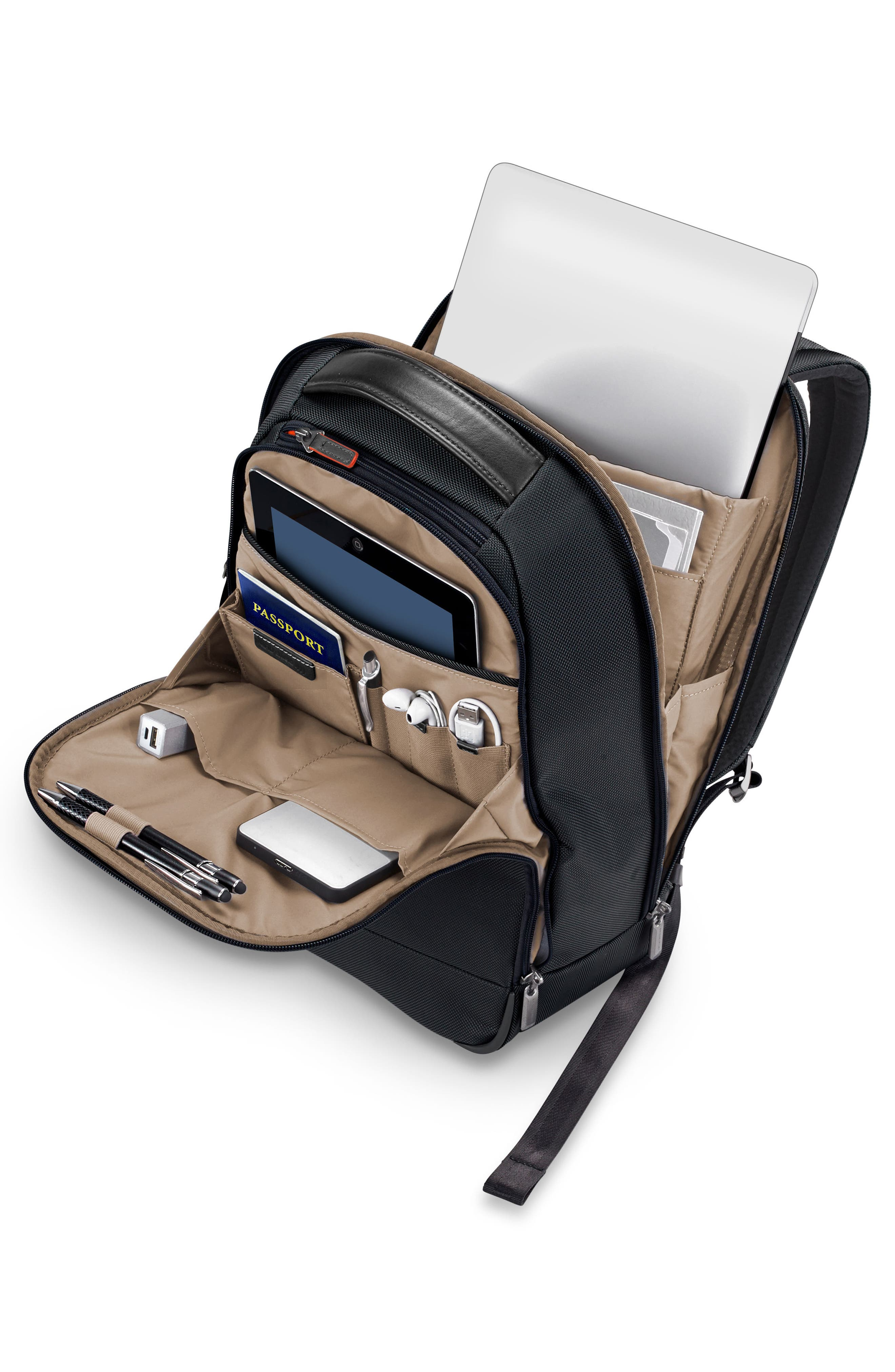@work Medium Slim Backpack,                             Alternate thumbnail 3, color,                             Black