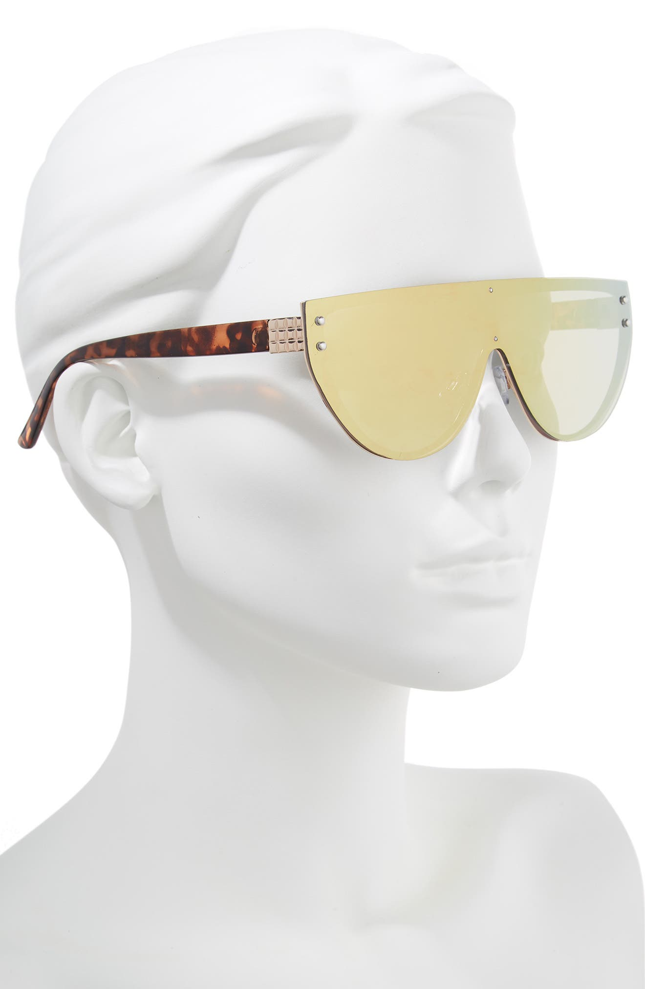 57mm Mirrored Rimless Shield Sunglasses,                             Alternate thumbnail 2, color,                             Tort/ Pink Mirror