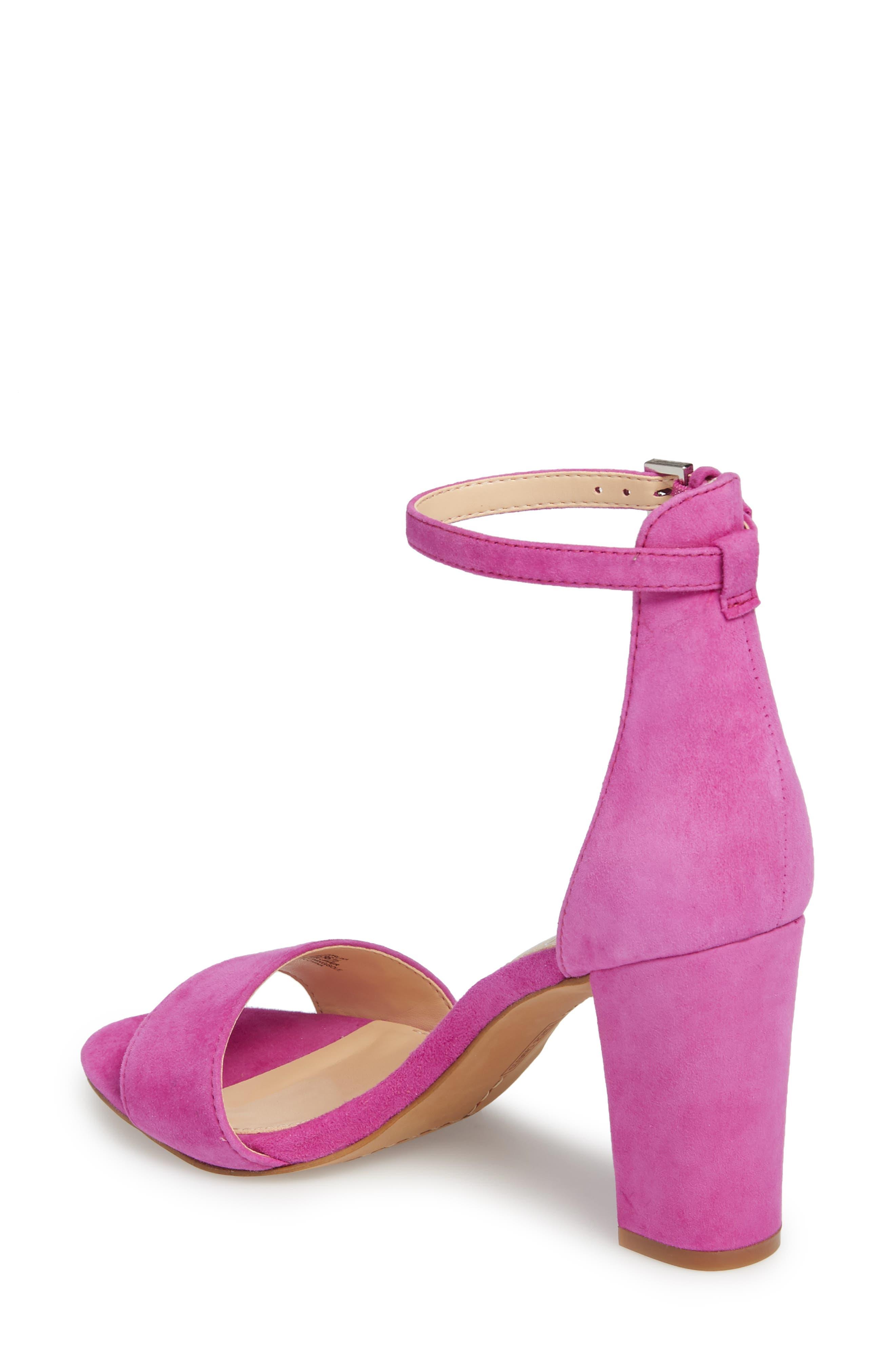 Corlina Ankle Strap Sandal,                             Alternate thumbnail 2, color,                             Drama Pink Suede