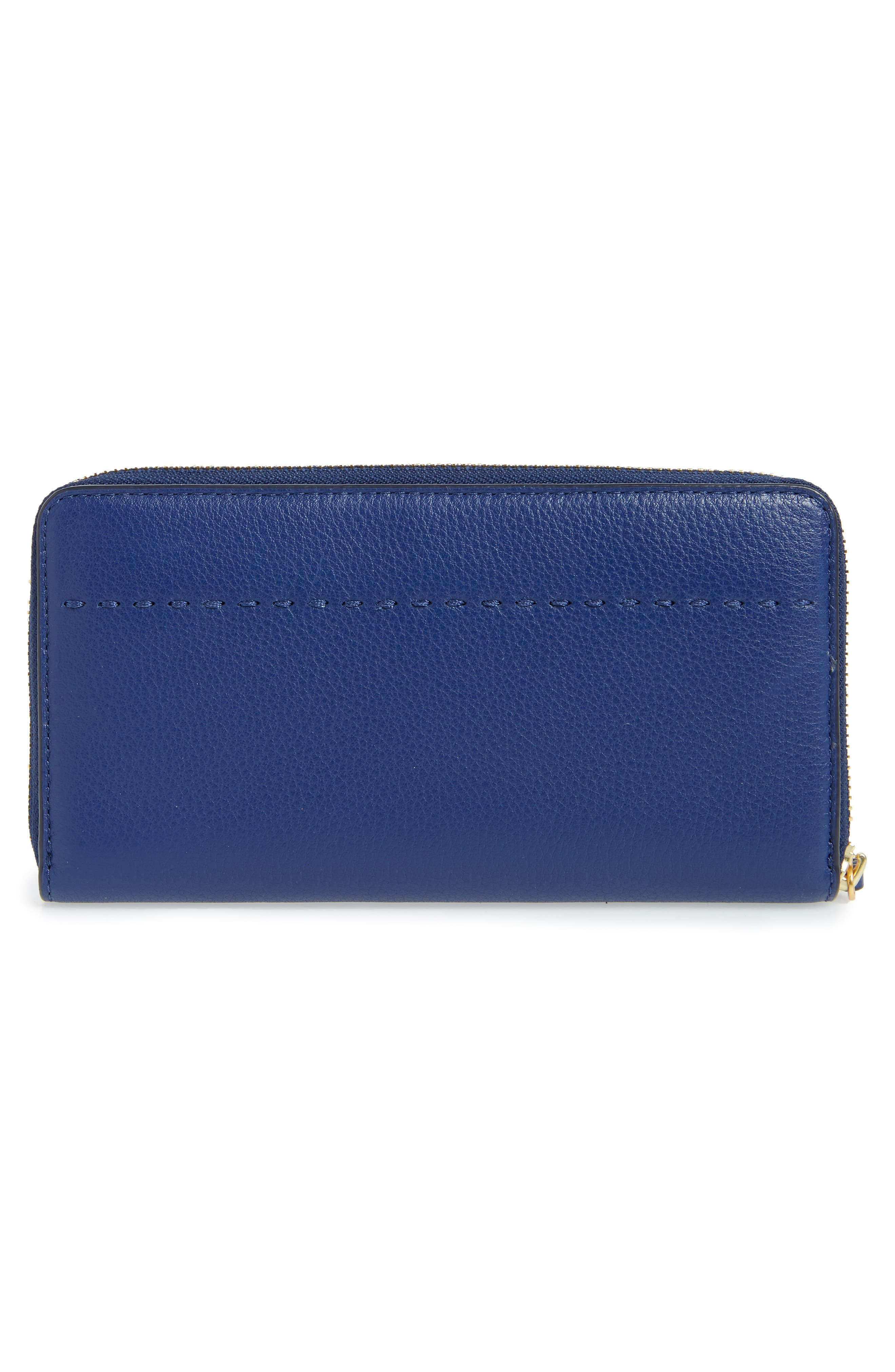 McGraw Leather Continental Zip Wallet,                             Alternate thumbnail 3, color,                             Bright Indigo