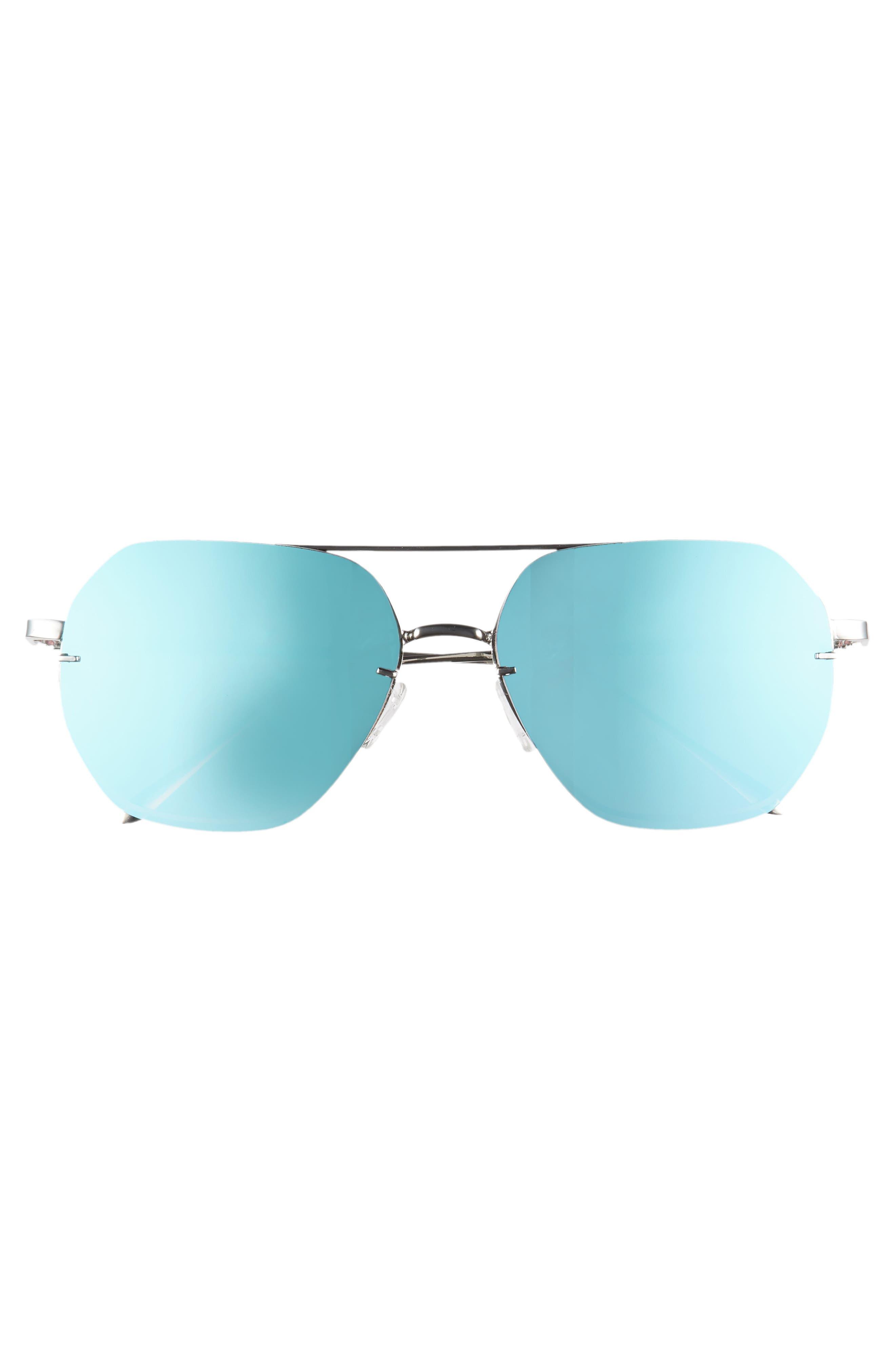 62mm Metal Flat Geo Aviator Sunglasses,                             Alternate thumbnail 3, color,                             Silver/ Blue
