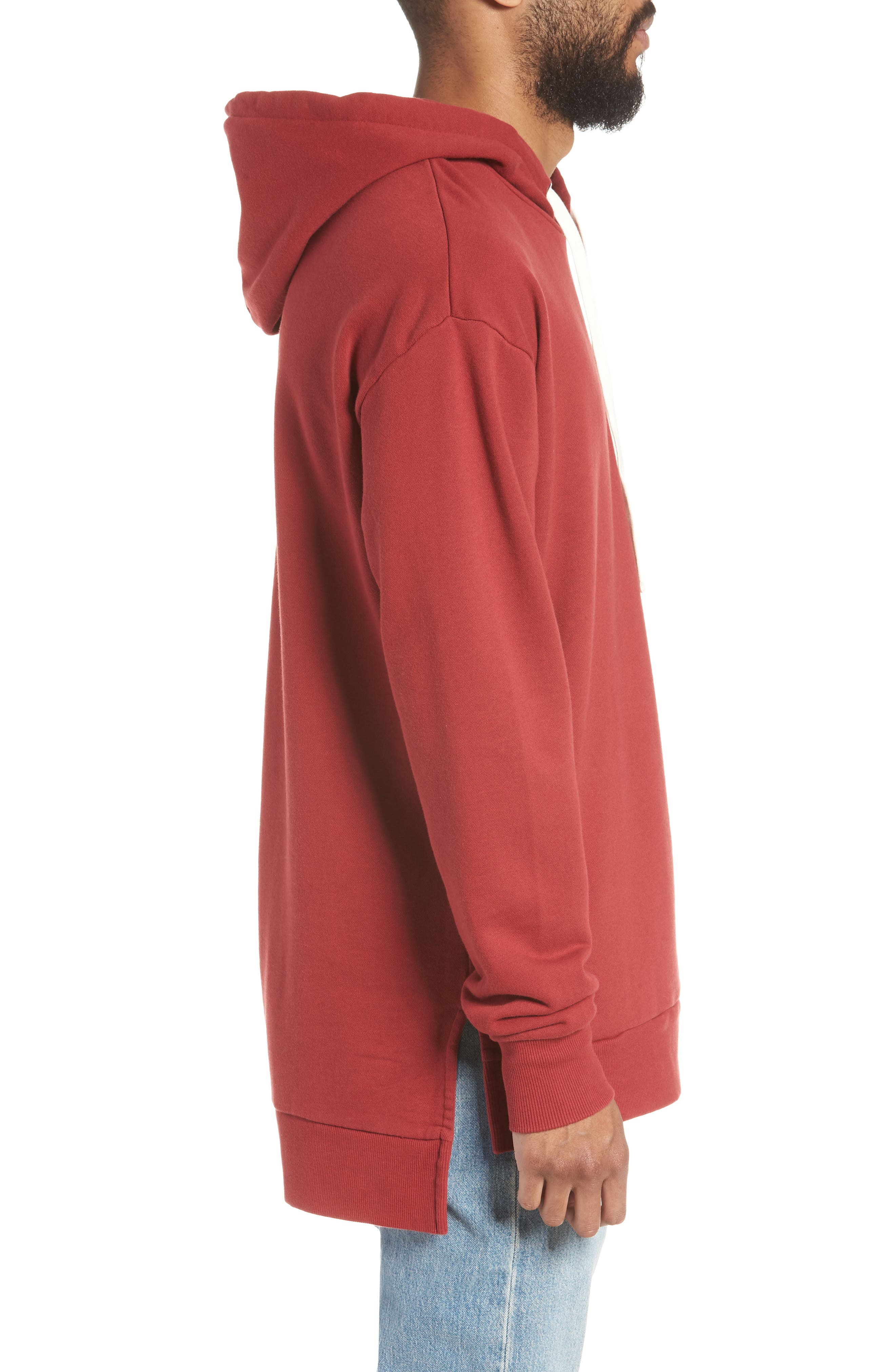 Rugger Hooded Sweatshirt,                             Alternate thumbnail 4, color,                             Dark Cherry
